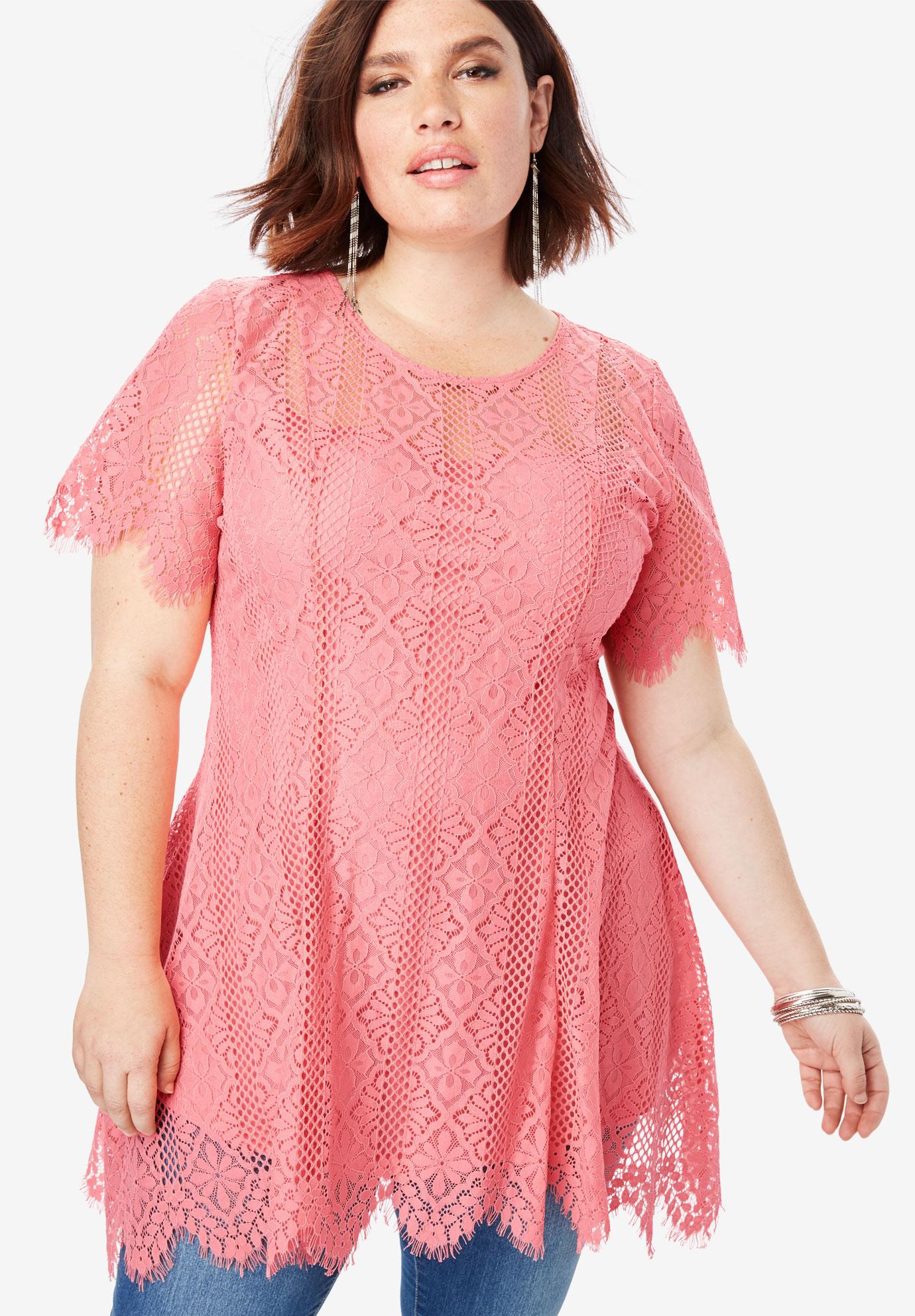 f09927218c2b4 Lace Flutter Tunic with Handkerchief Hem