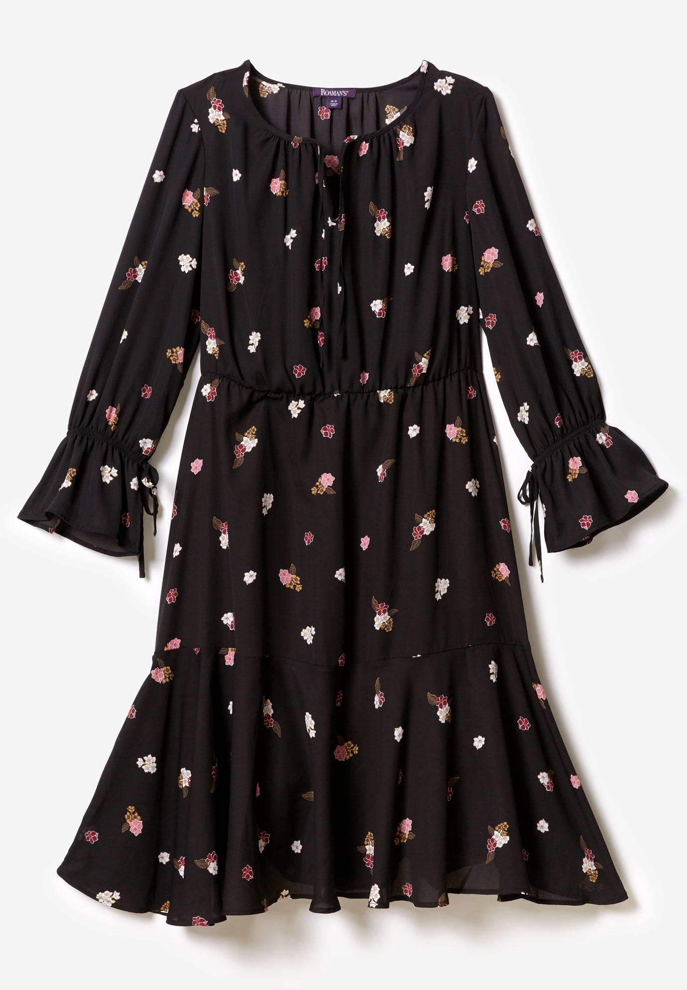 12190de614109 Ruffle Georgette Dress with Tie Sleeves