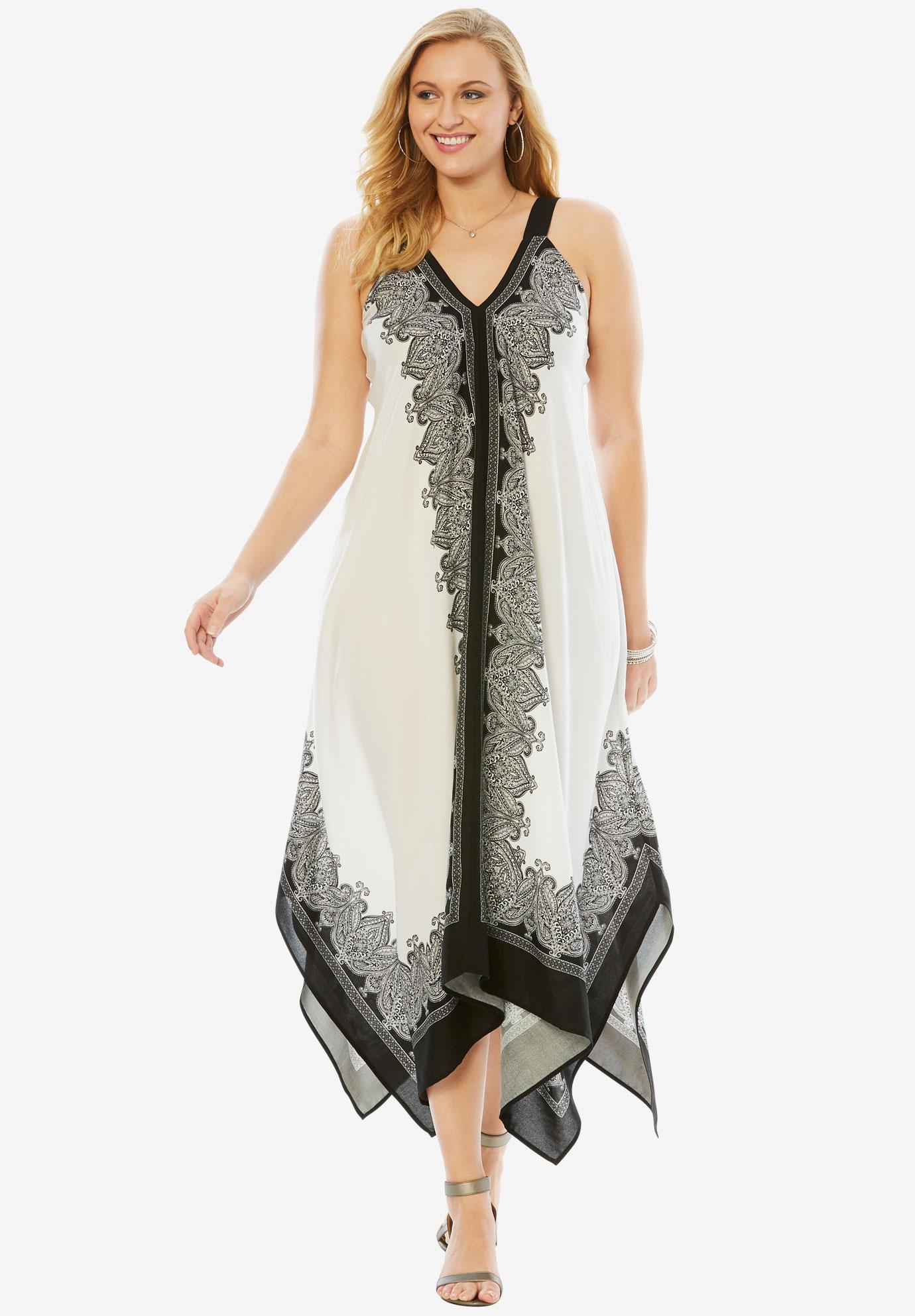 Scarf-Print Maxi Dress with Handkerchief Hem  Plus Size Career ...