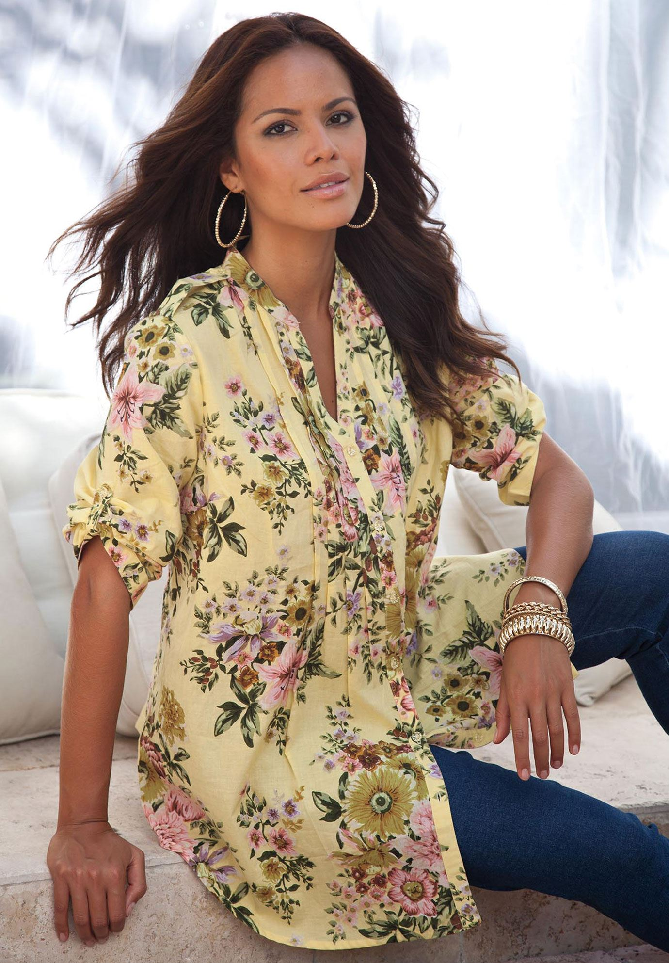 93ab6a75784 English Floral Tunic with Pintucks