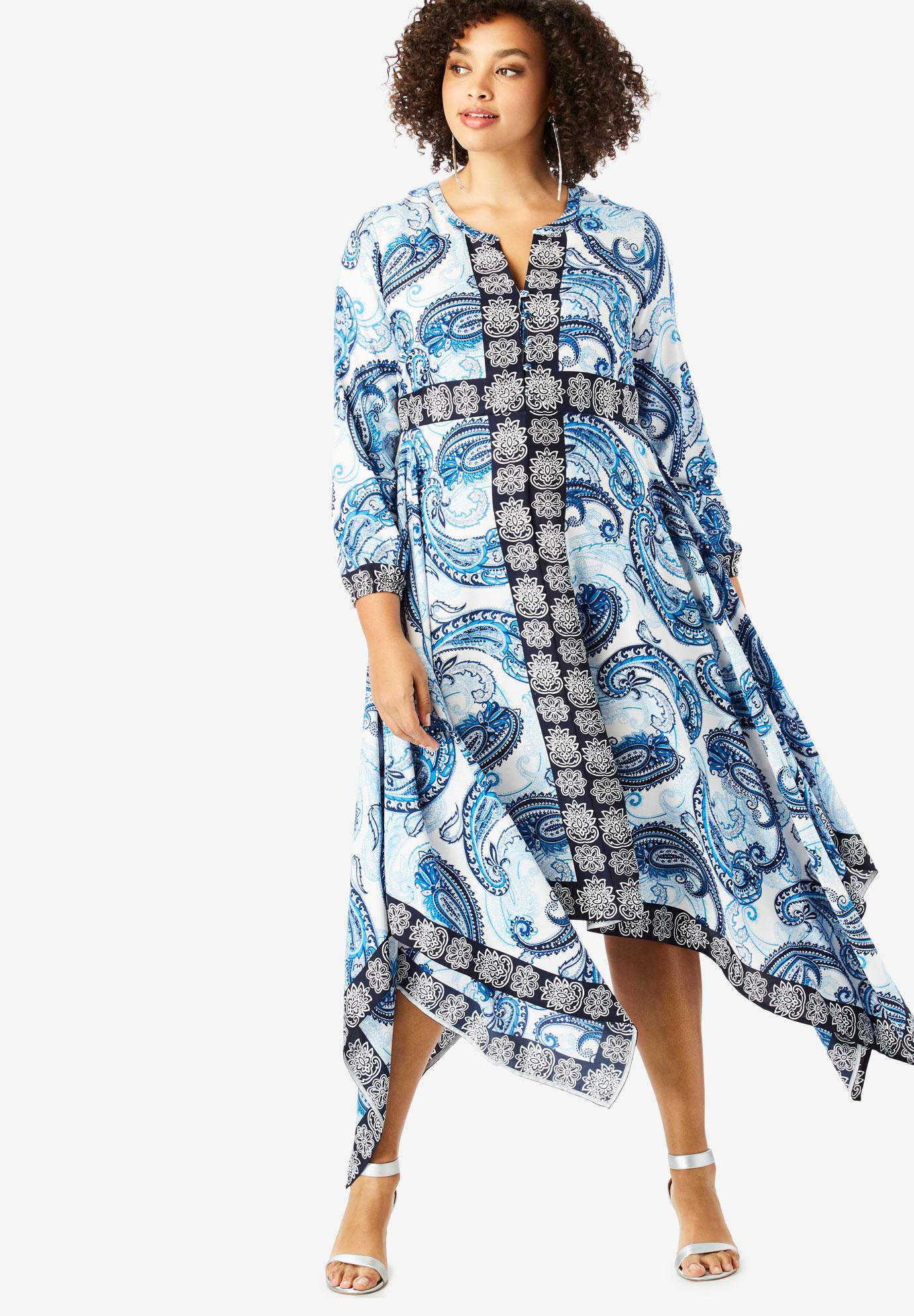 Long Handkerchief-Hem Dress   Plus Size Casual Dresses   Full Beauty