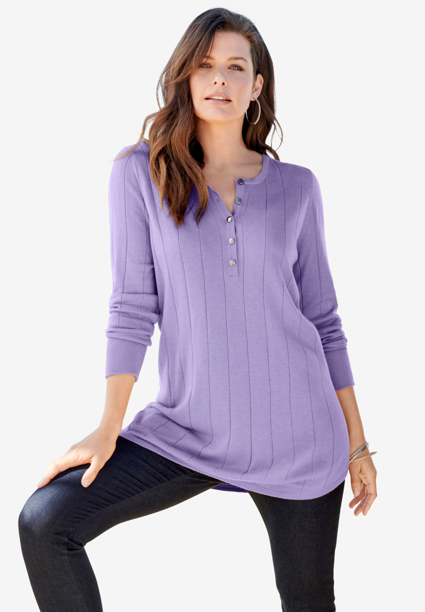 Fine Gauge Drop Needle Henley Sweater,