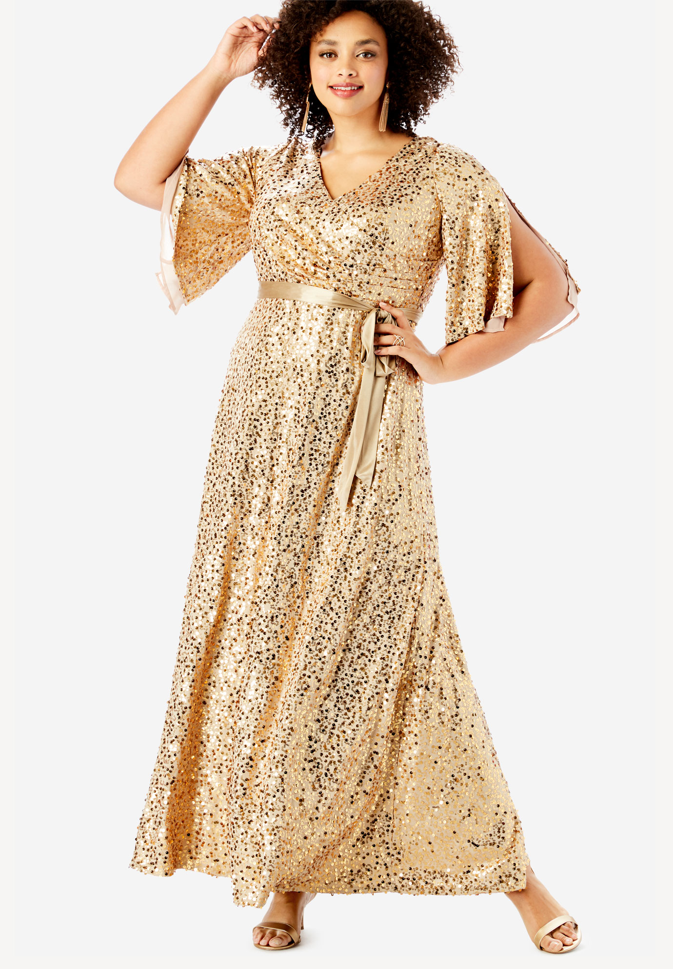 Sequin Gown with Satin Belt| Plus Size Maxi Dresses | Full Beauty
