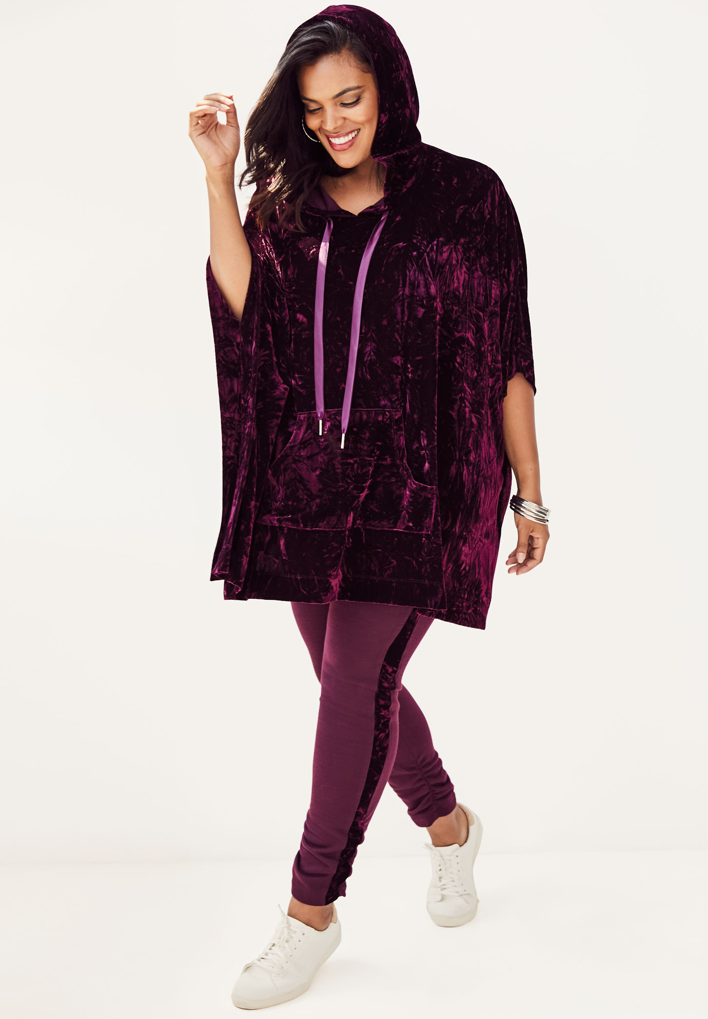 Crushed Velour Poncho Tunic,