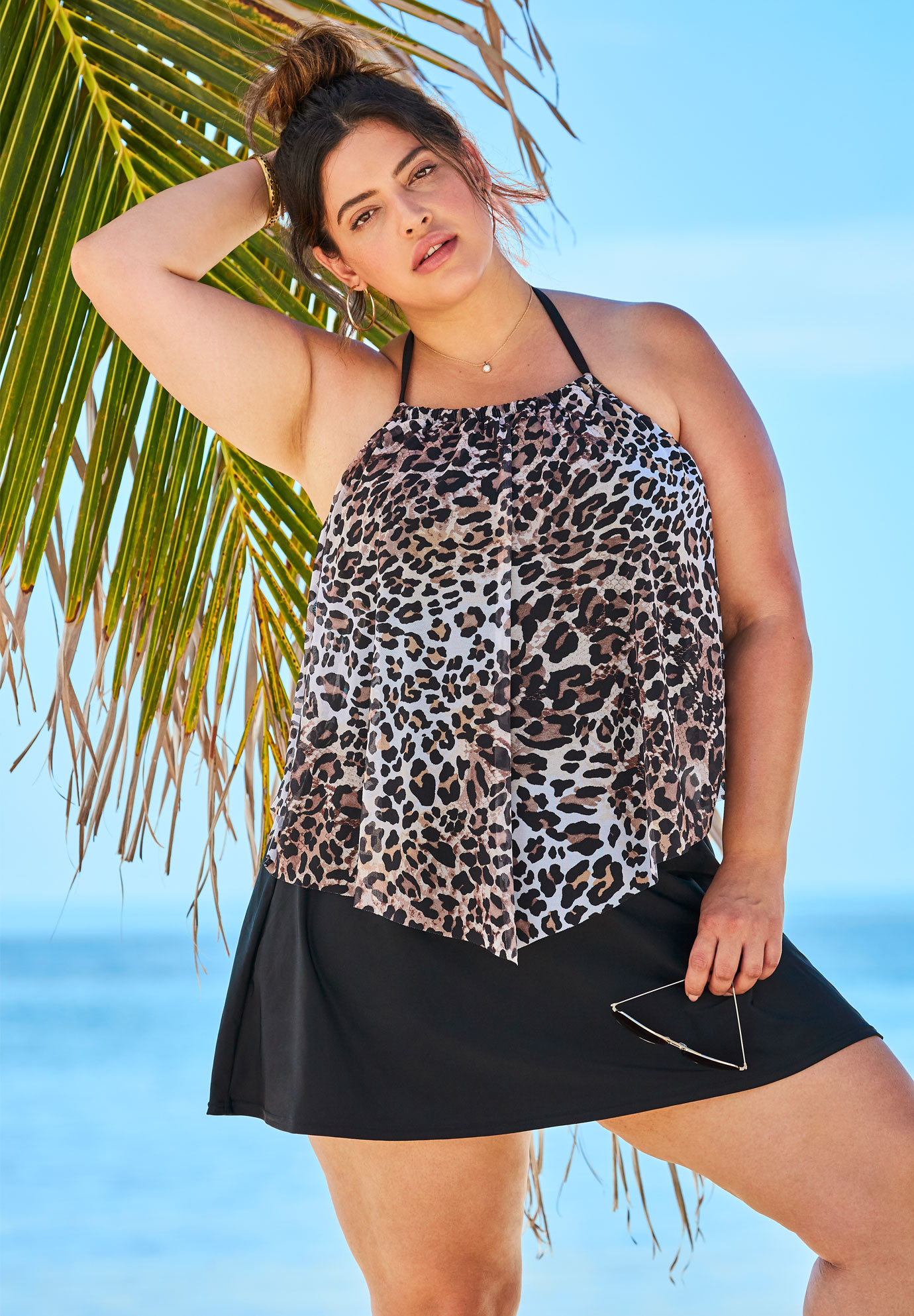 d4ca40bdcd652 High-Neck Mesh Tankini Top| Plus Size Tankini Tops | Full Beauty