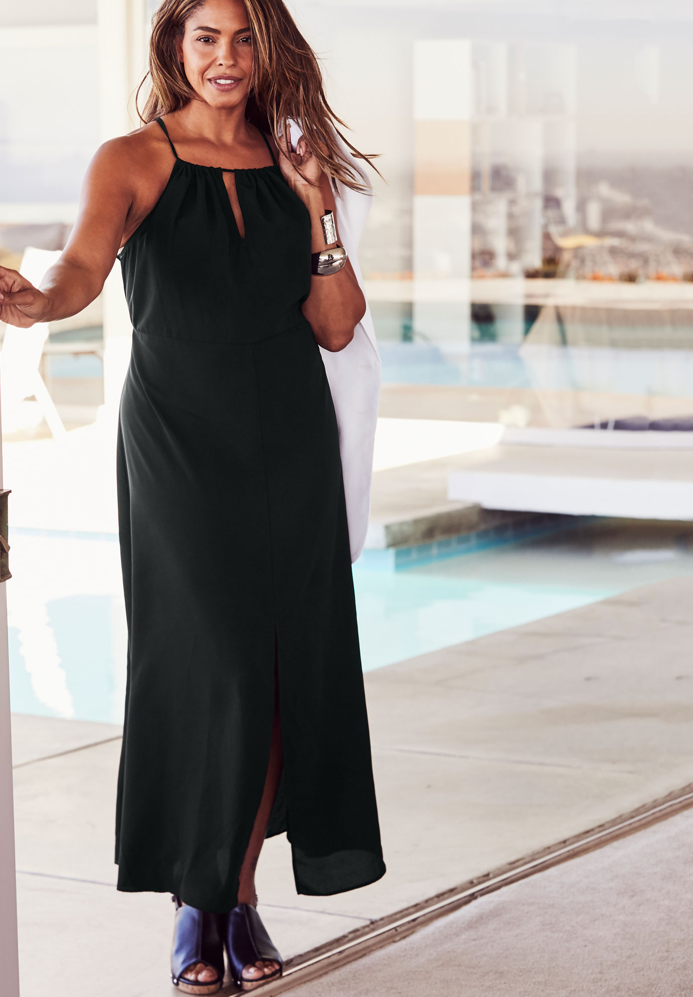 NY Swim Keyhole Maxi Dress,