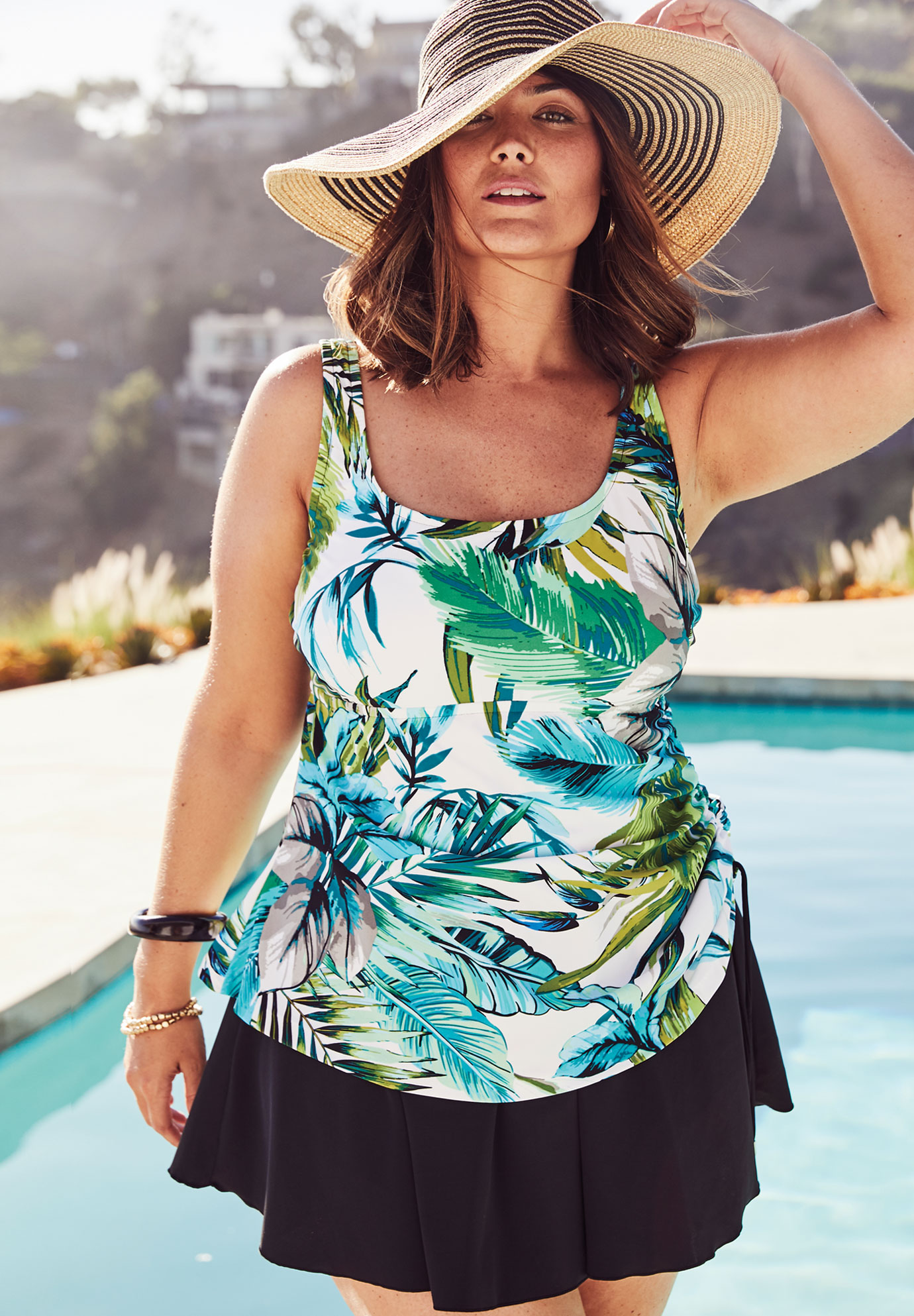 cf3c678f41e45 Adjustable-Side Tank Swimdress by Maxine of Hollywood| Plus Size ...