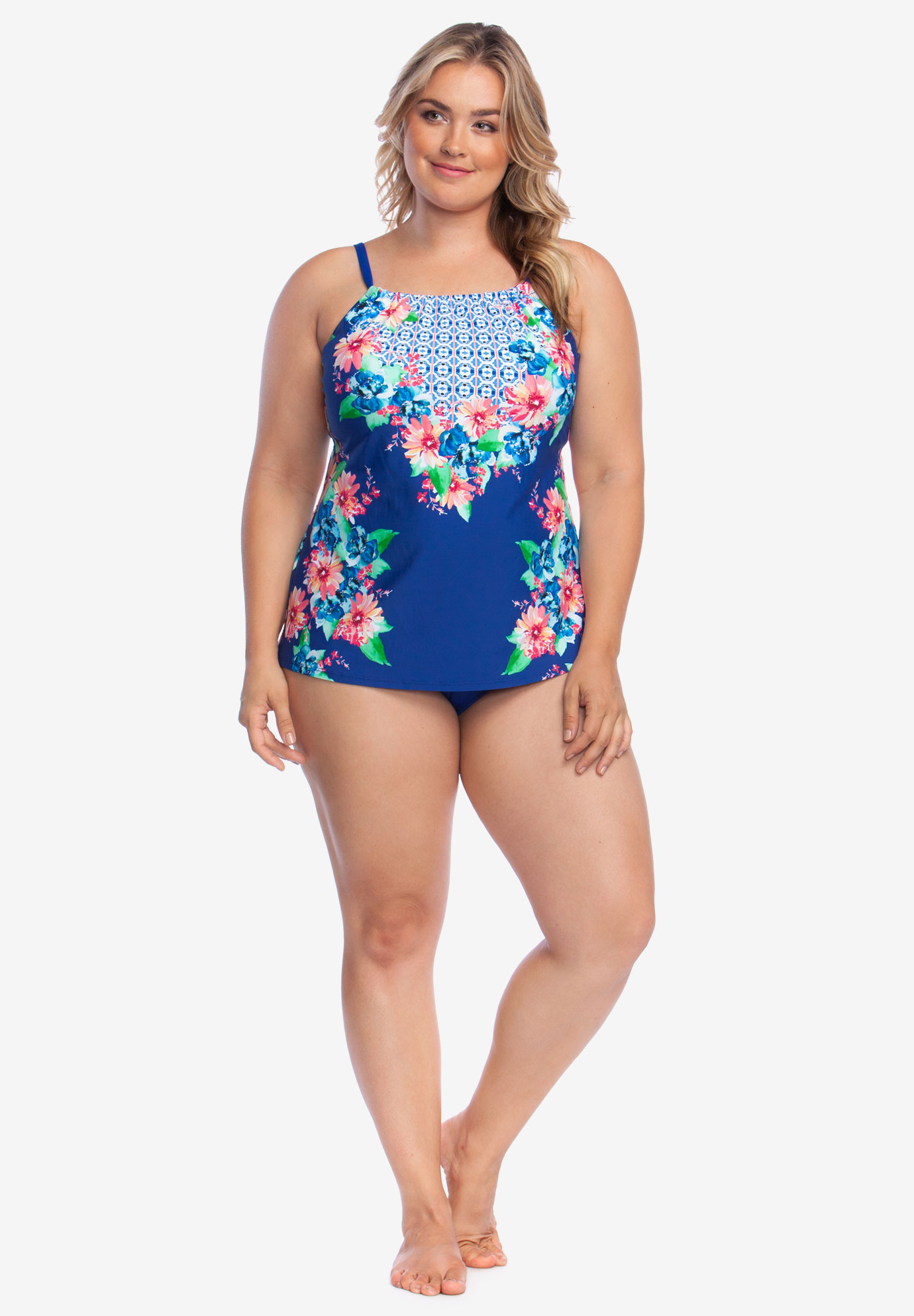 42aab7a0bff42 High-Neck Tankini Top by 24th & Ocean| Plus Size Tankini Tops | Full ...