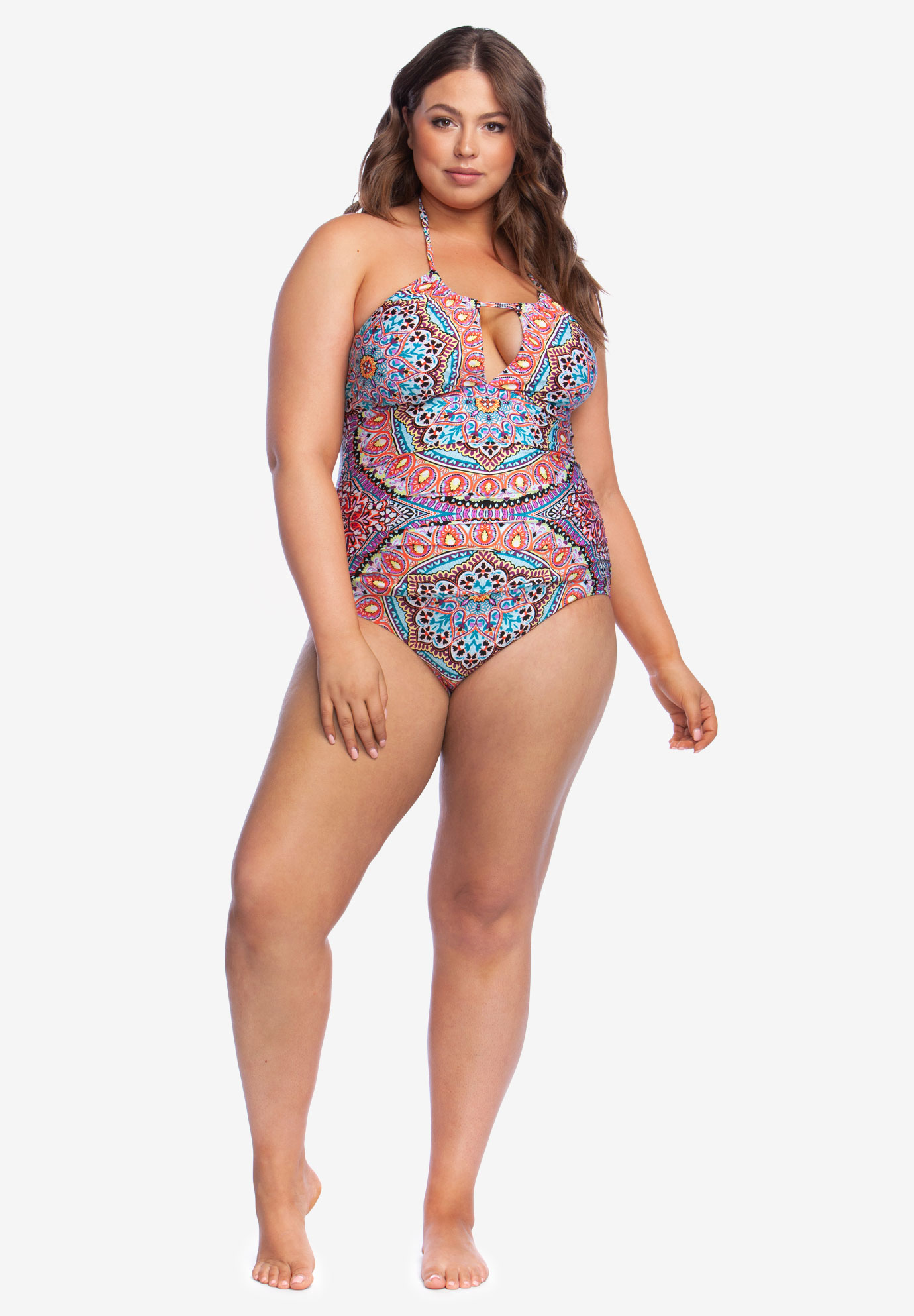 fb7861ed31726 High-Neck Halter One-Piece by Kenneth Cole Reaction| Plus Size One ...