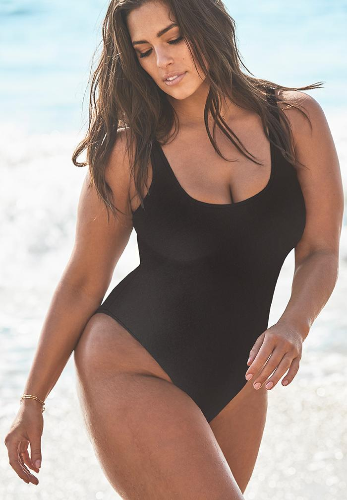Ashley Graham x Swimsuits For All Hotshot Black One Piece Swimsuit,