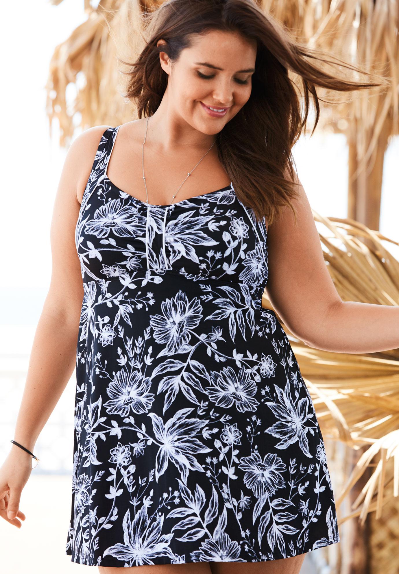 5d555ee755bb0 Retro Empire Swimdress| Plus Size Active & Swimwear | Full Beauty