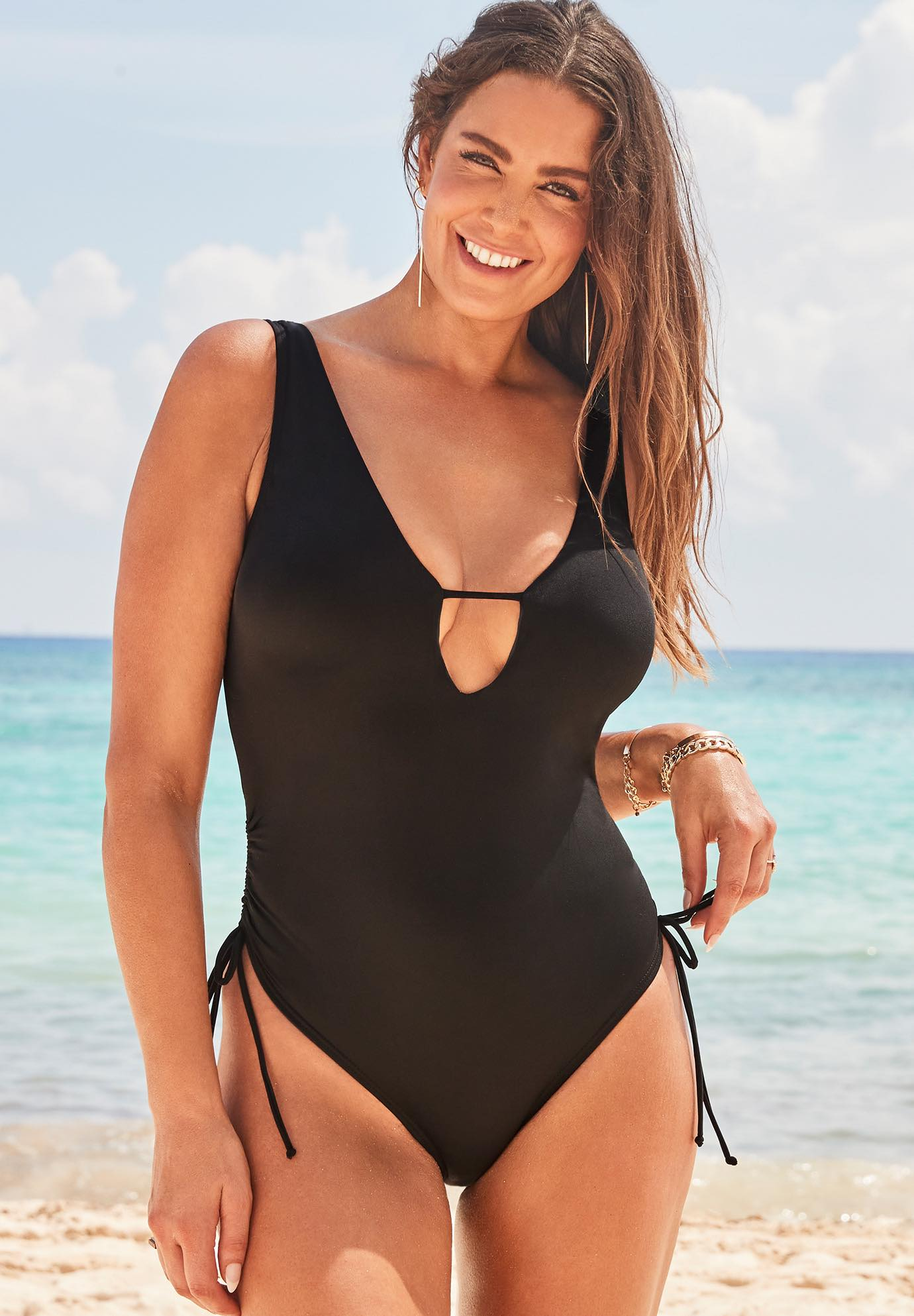 Ashley Graham A-List Plunge One Piece Swimsuit,