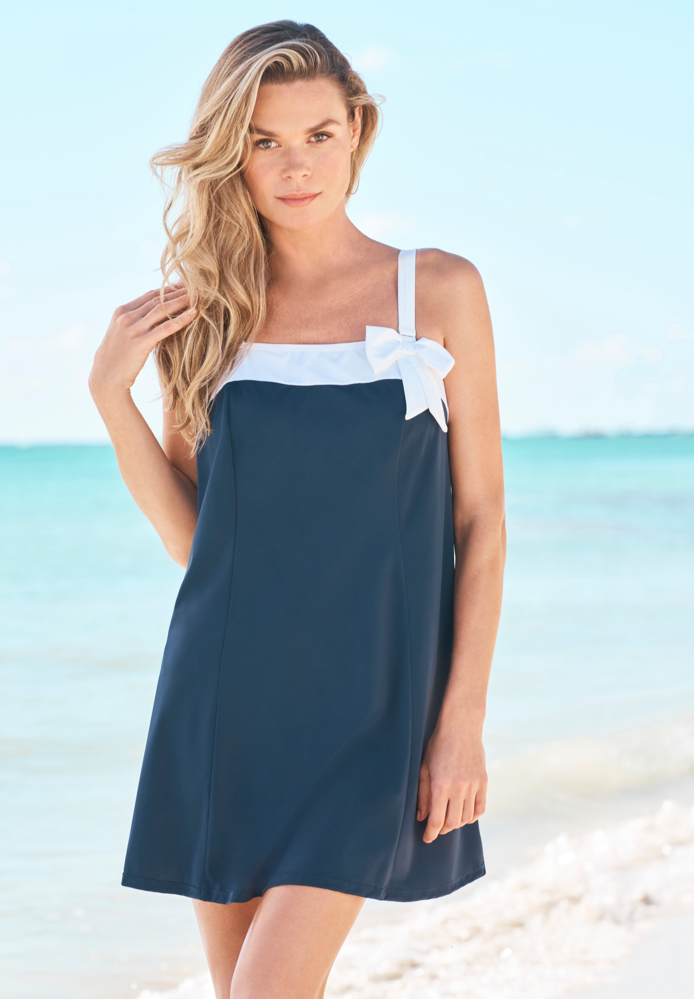 Bow-Trim Swim Dress