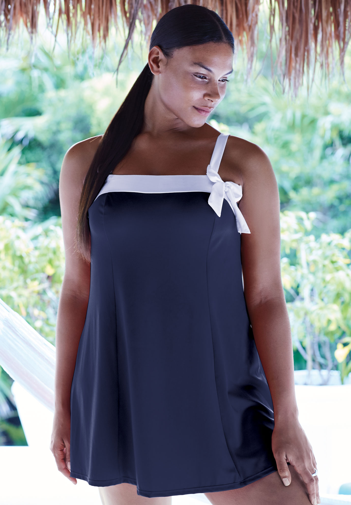 Bow-Trim Swim Dress,