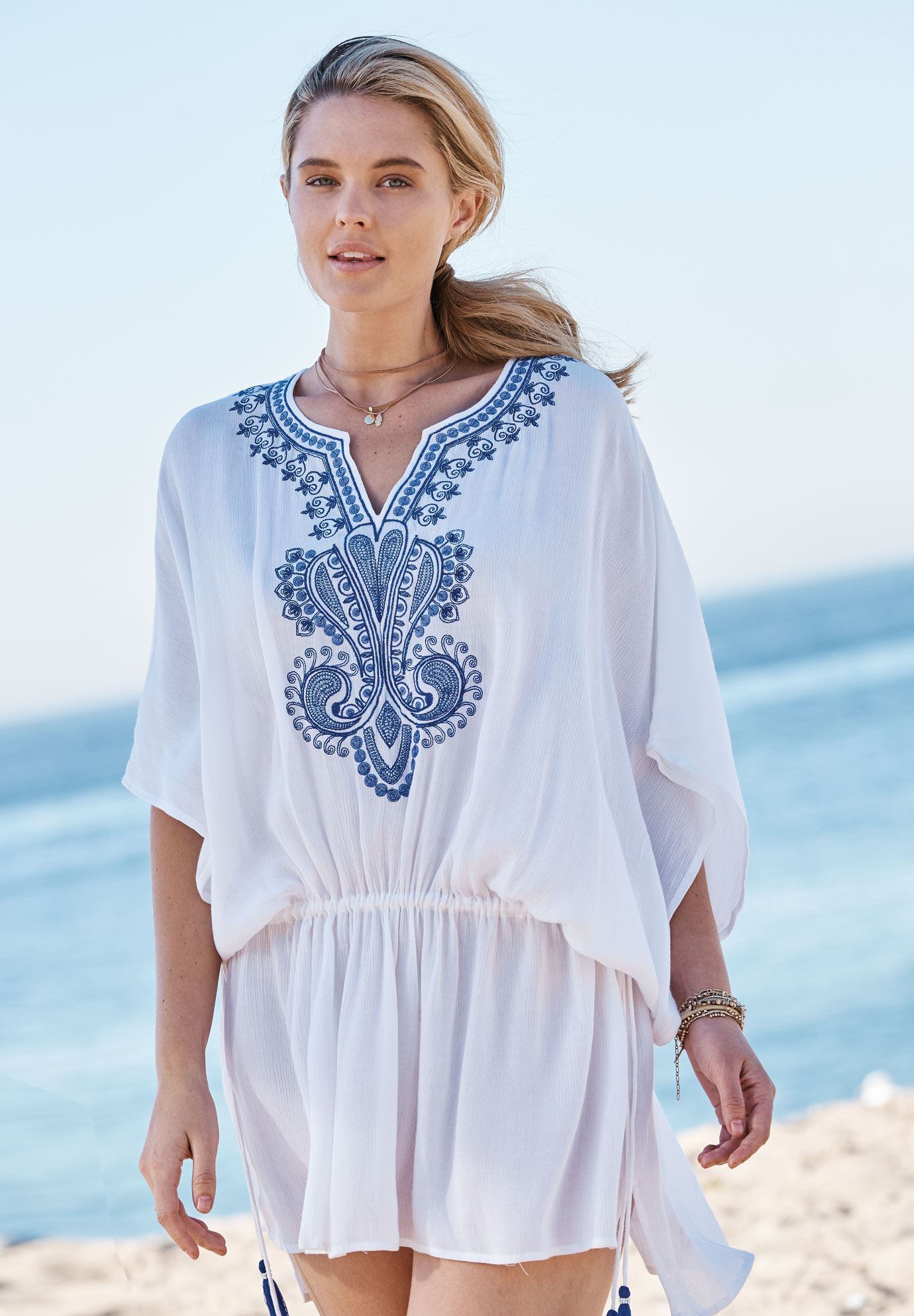 e665d9fe394 Embroidered Tunic Swim Coverup| Plus Size Swimsuit Cover Ups | Full ...
