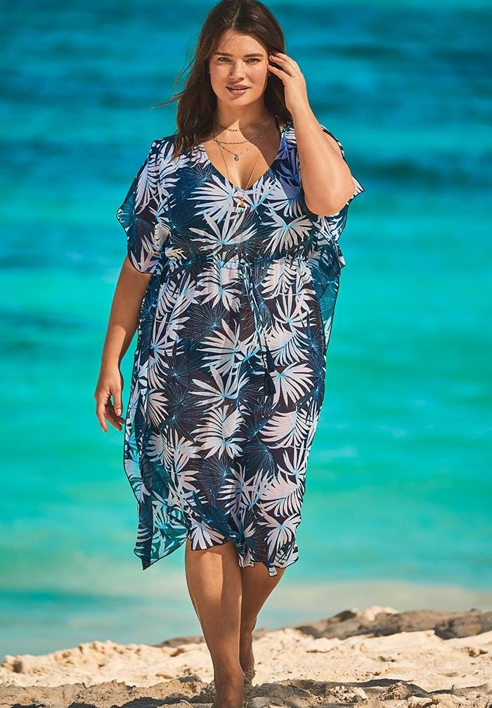 Ariana Jasmine V-Neck Caftan Cover Up ,