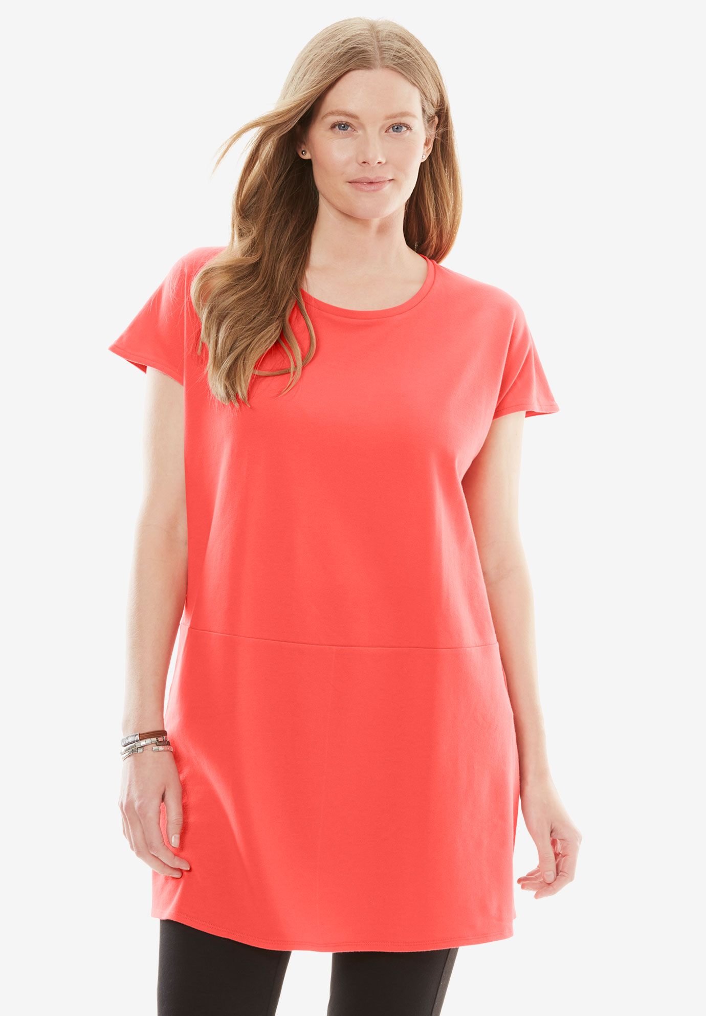 Side Slit Stretch Pique Tunic,