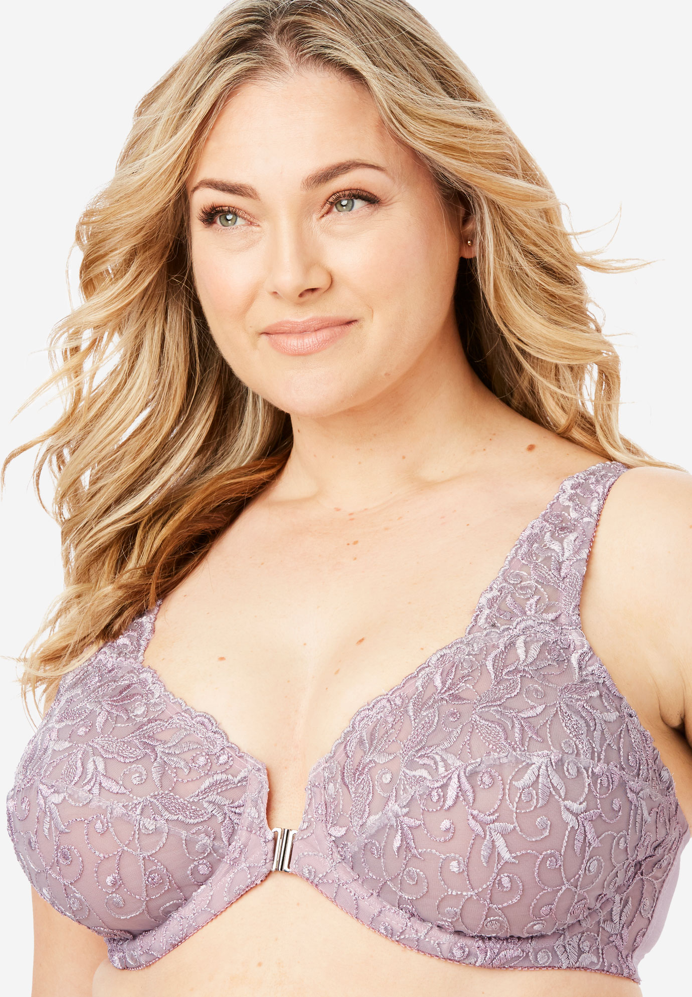 c98ea5d539a89 Embroidered Front-Close Underwire Bra by Amoureuse®