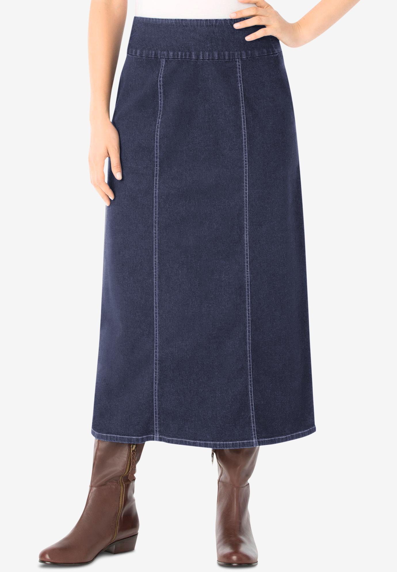 Smooth Waist A-Line Denim Skirt  170643e87f99