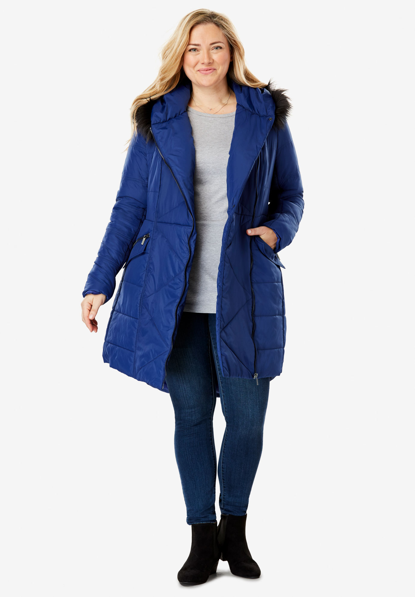 Faux Fur Trimmed Puffer Coat,