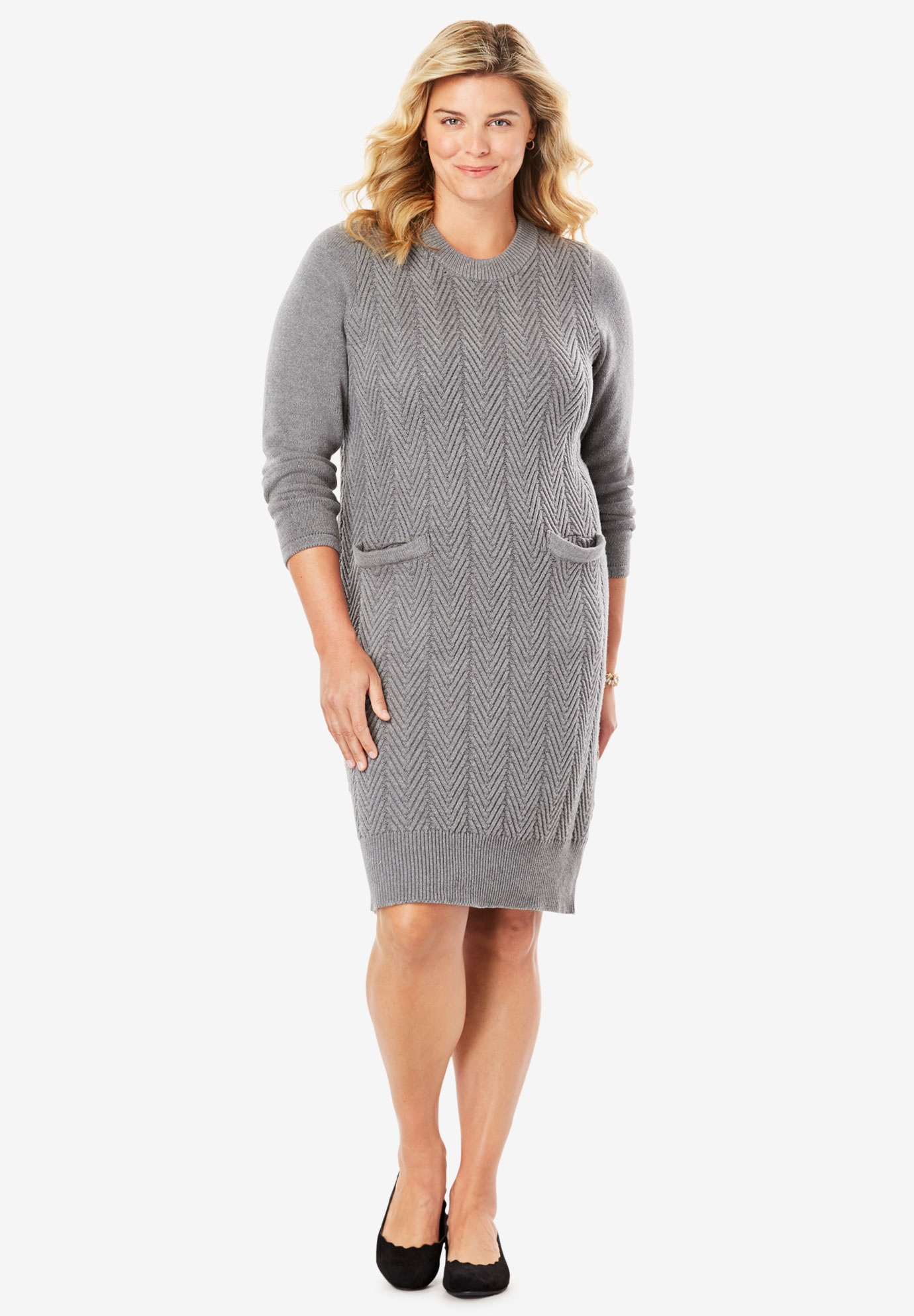Chevron Stitch Sweater Dress | Plus Size Casual Dresses | Full Beauty