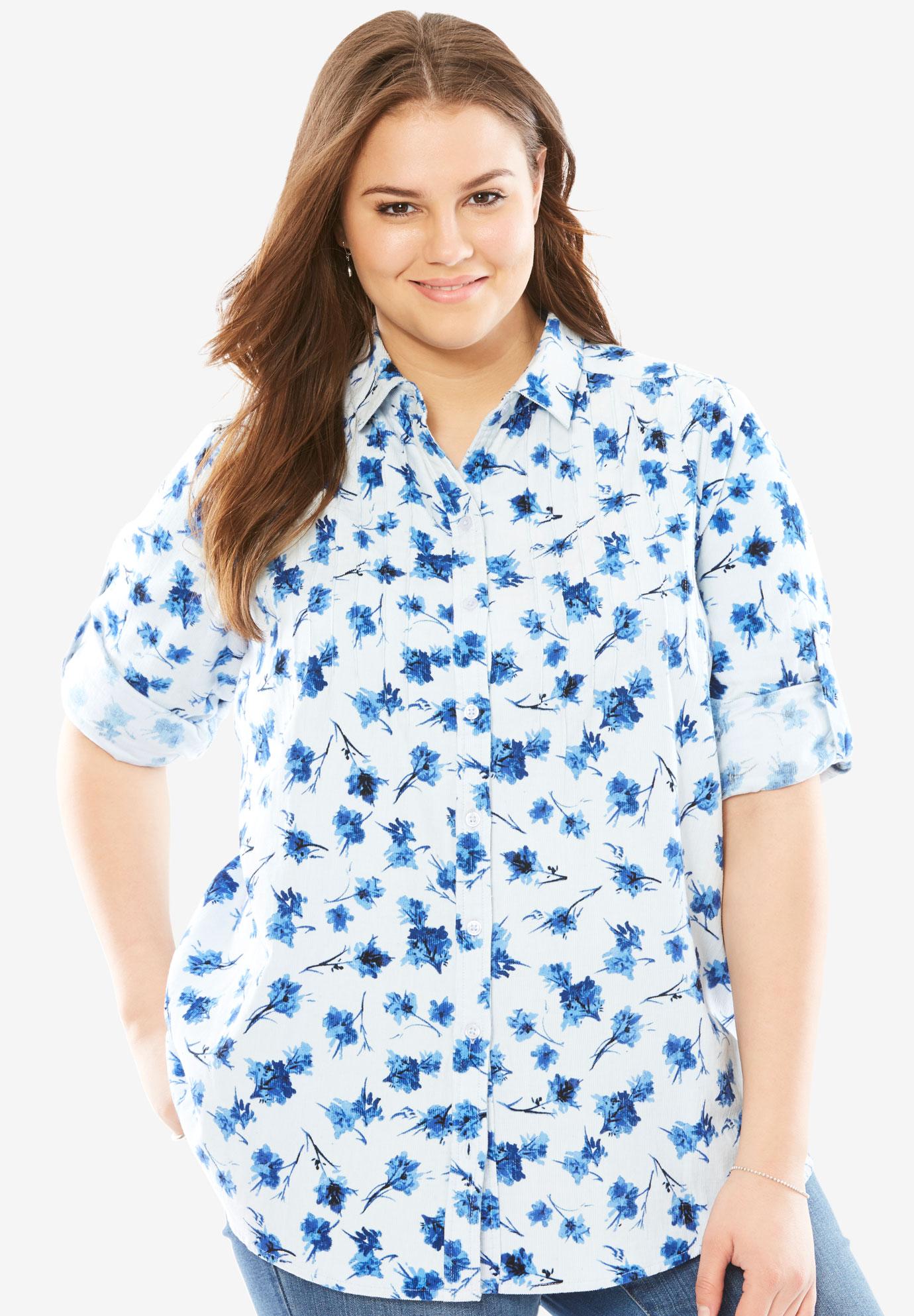397e0cccbb3a2 Pintucked Corduroy Button Down Shirt