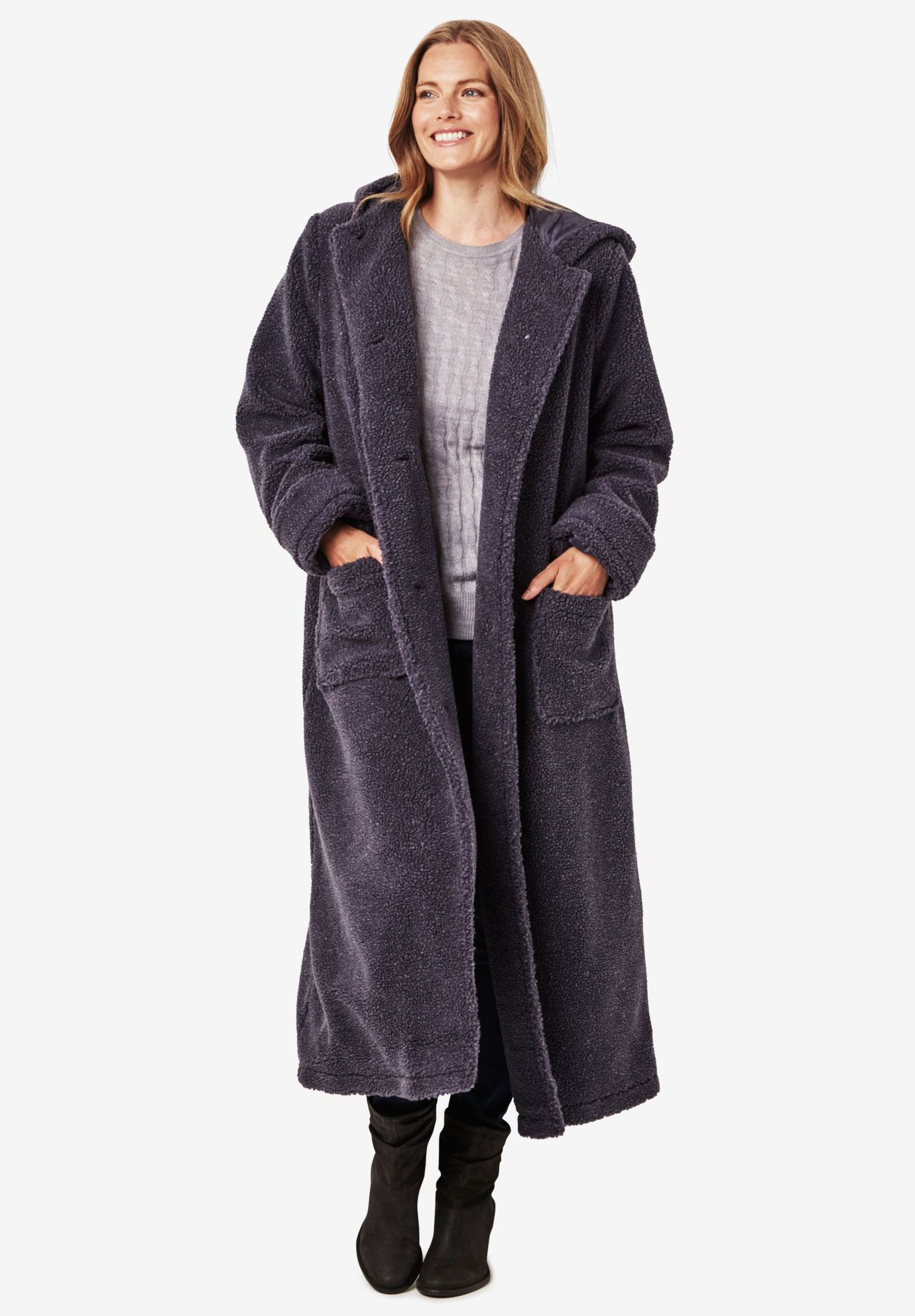 3220b7a22c7 Hooded Berber Fleece Duster Coat