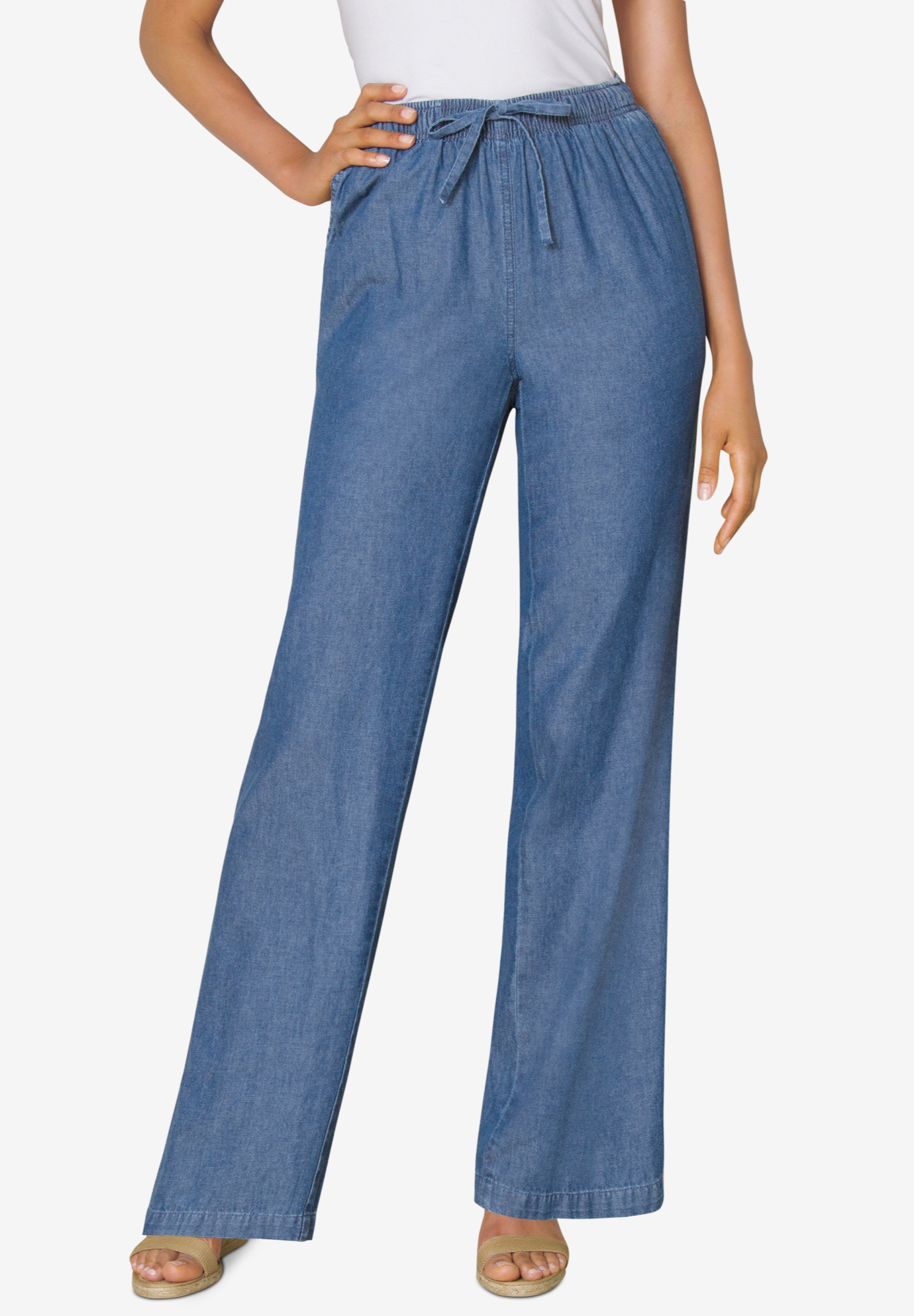 Pull-On Elastic Waist Cotton Chambray Pants,