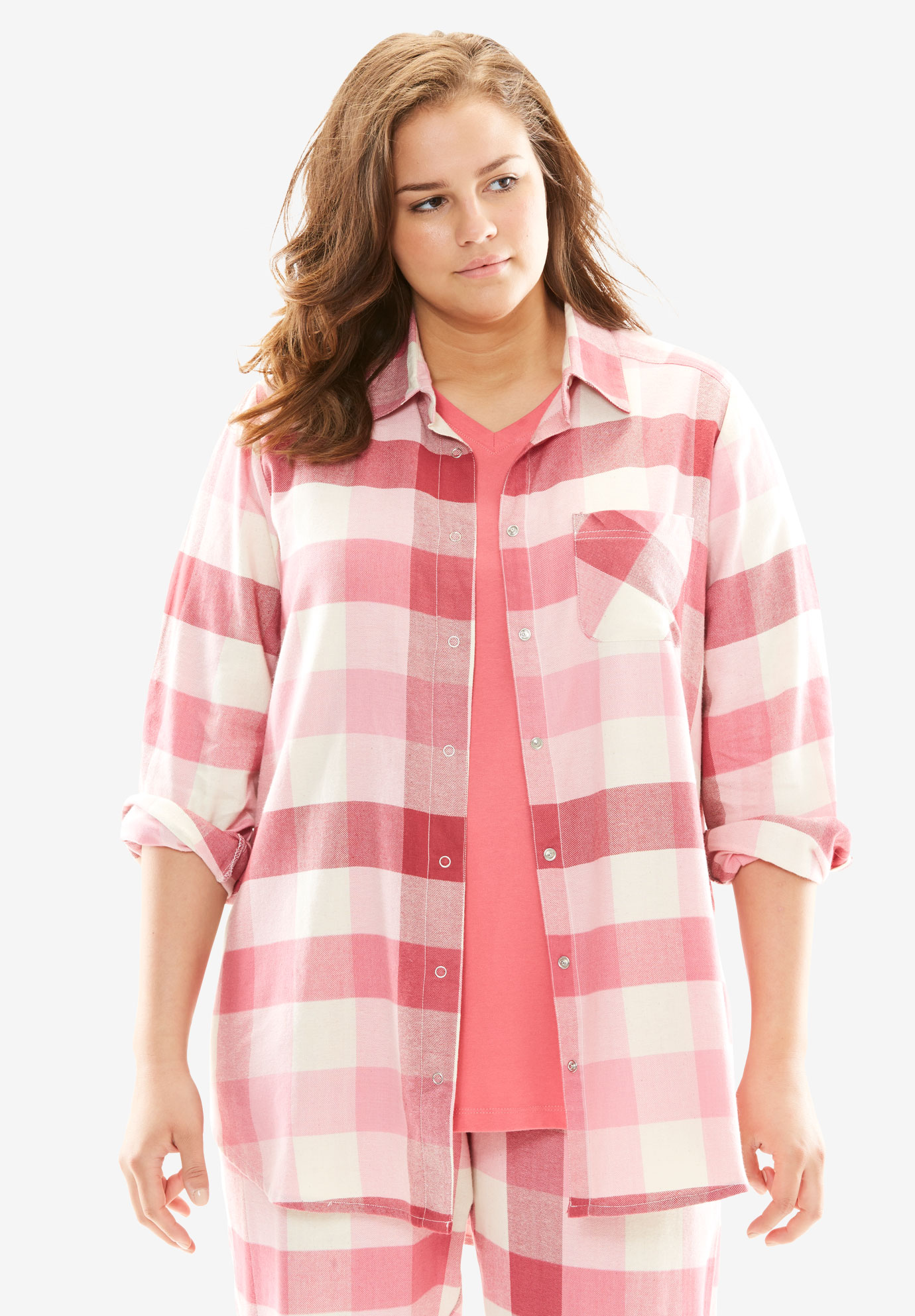Button-Up Pajama Top by Dreams & Co.®, BEGONIA PLAID