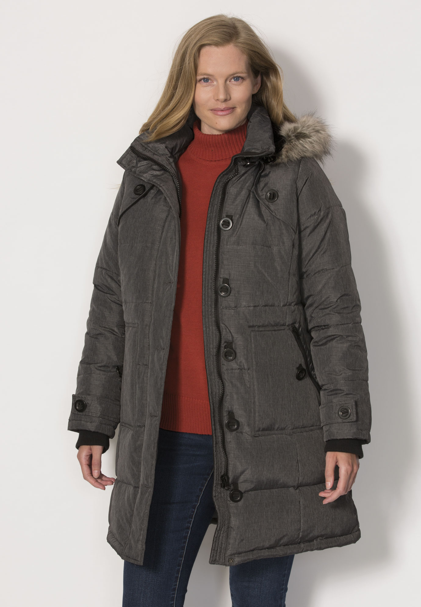 be49607b452 Hooded Down Heathered Puffer Coat