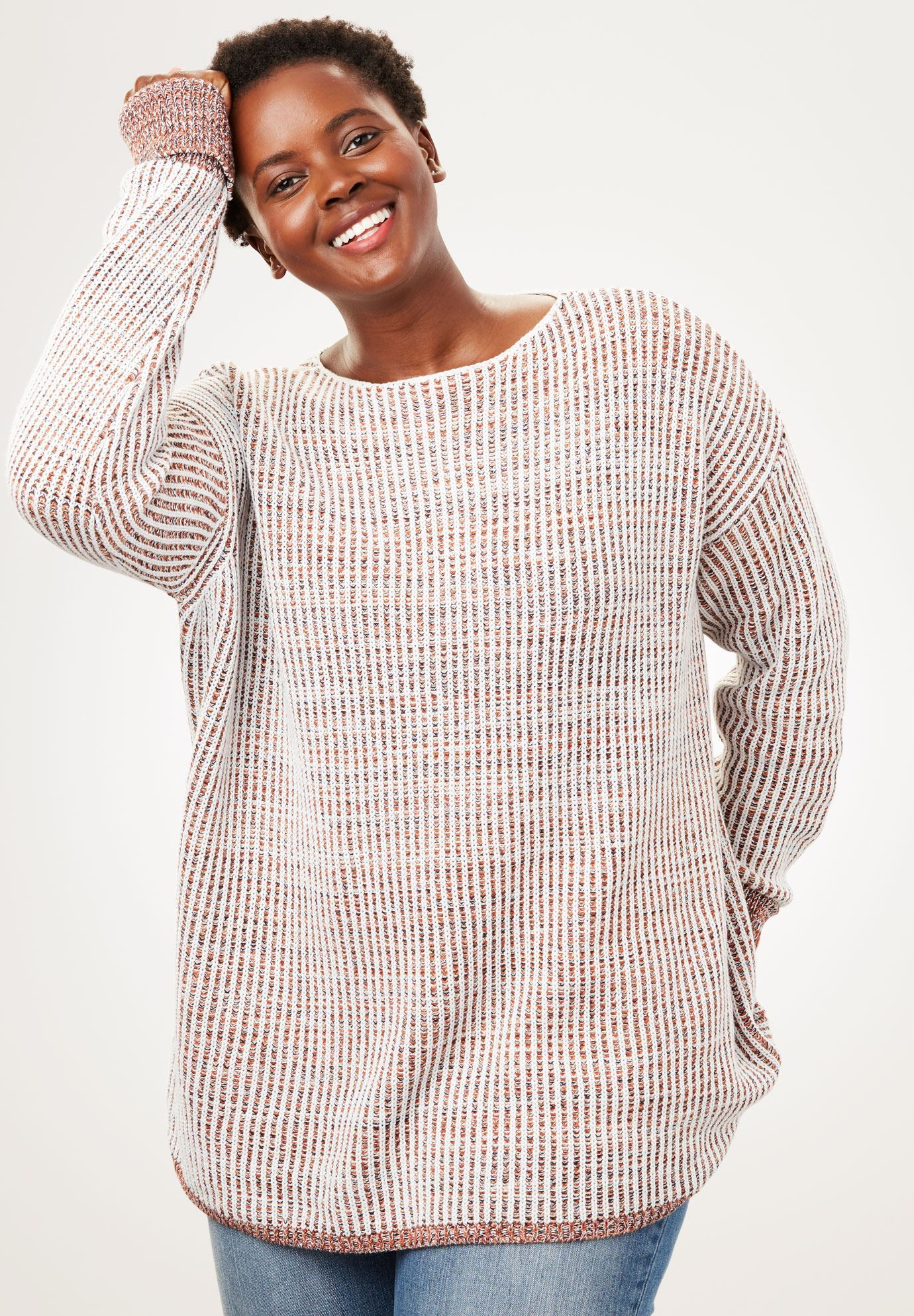 Multi Chunky Knit Sweater Plus Size Pullovers Full Beauty