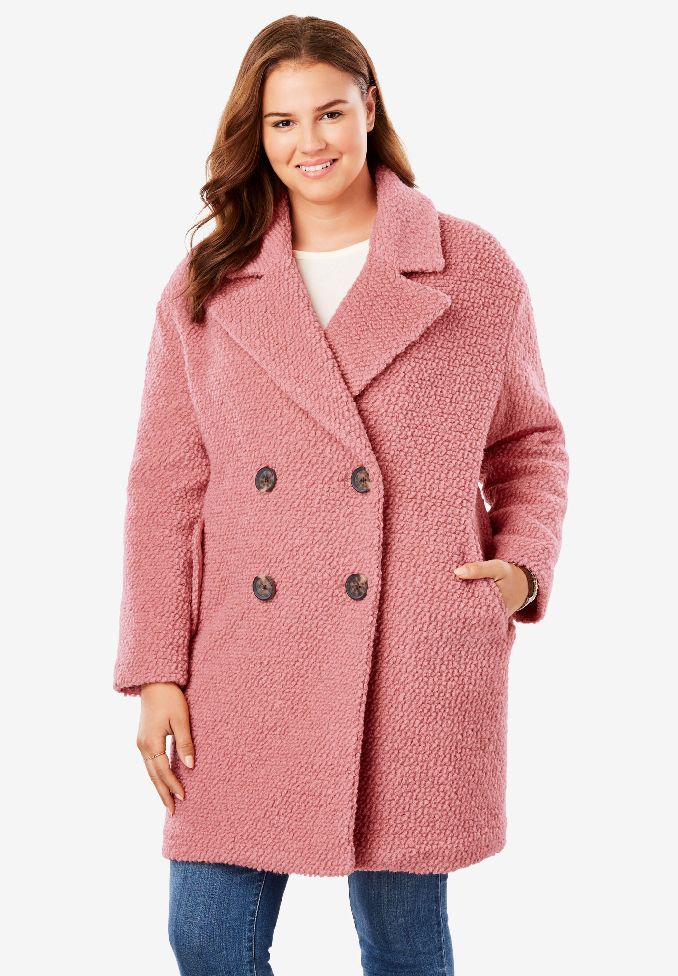 9dc068202b1 Double-Breasted Bouclé Peacoat