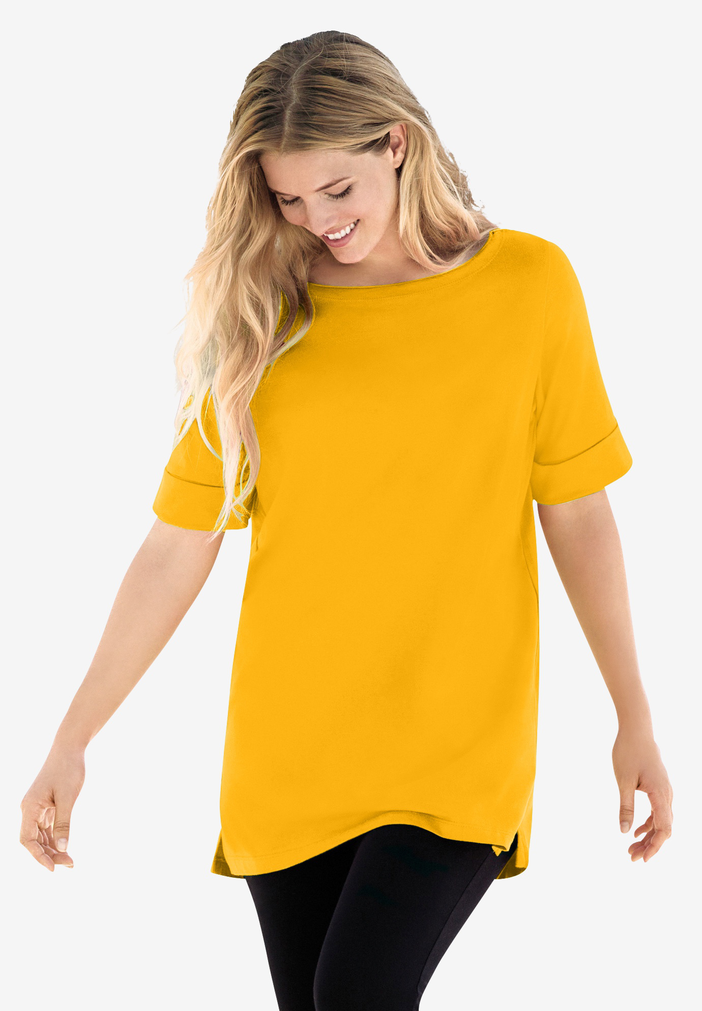 Perfect Boatneck Cuffed-Sleeve Tee,