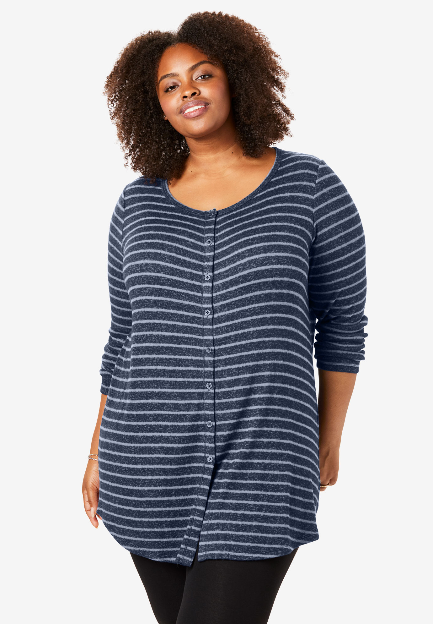 Button Front Cozy Tunic,