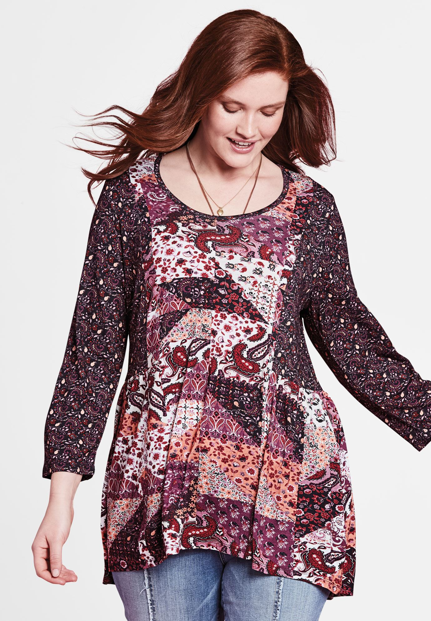 Mixed Print Babydoll Tunic by Chelsea Studio®,