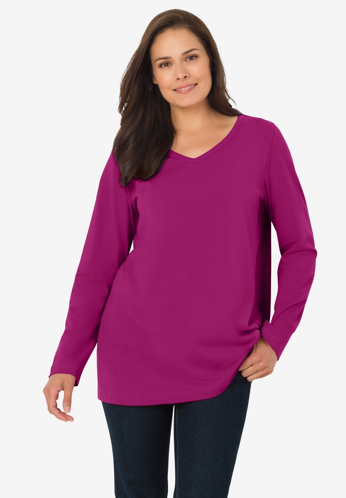 Perfect V-Neck Long Sleeve Tee,