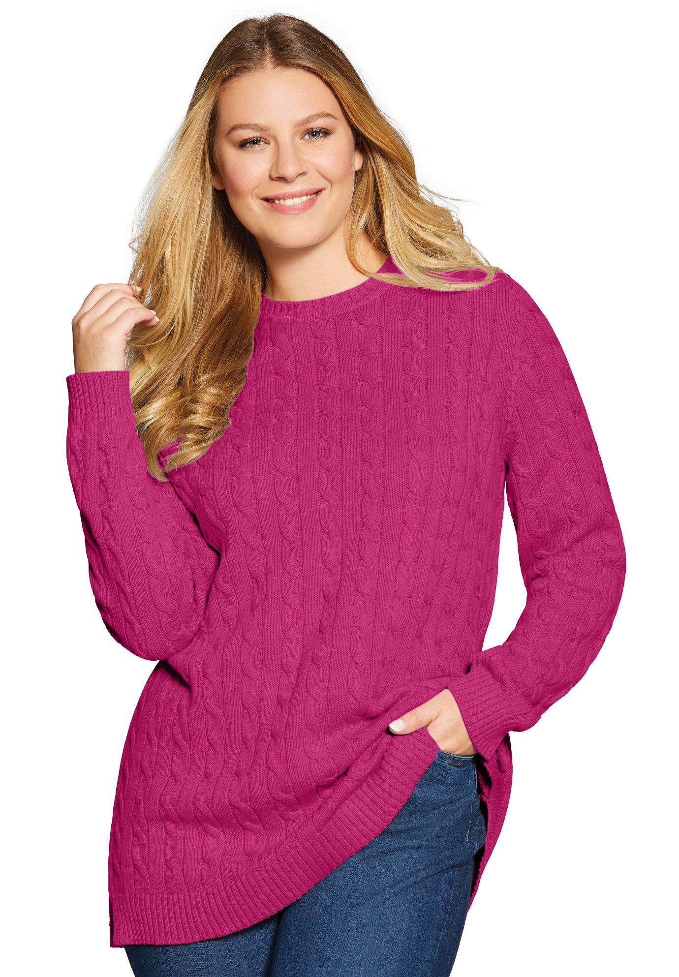 04d620456ad Cable Knit Pullover Crewneck Sweater