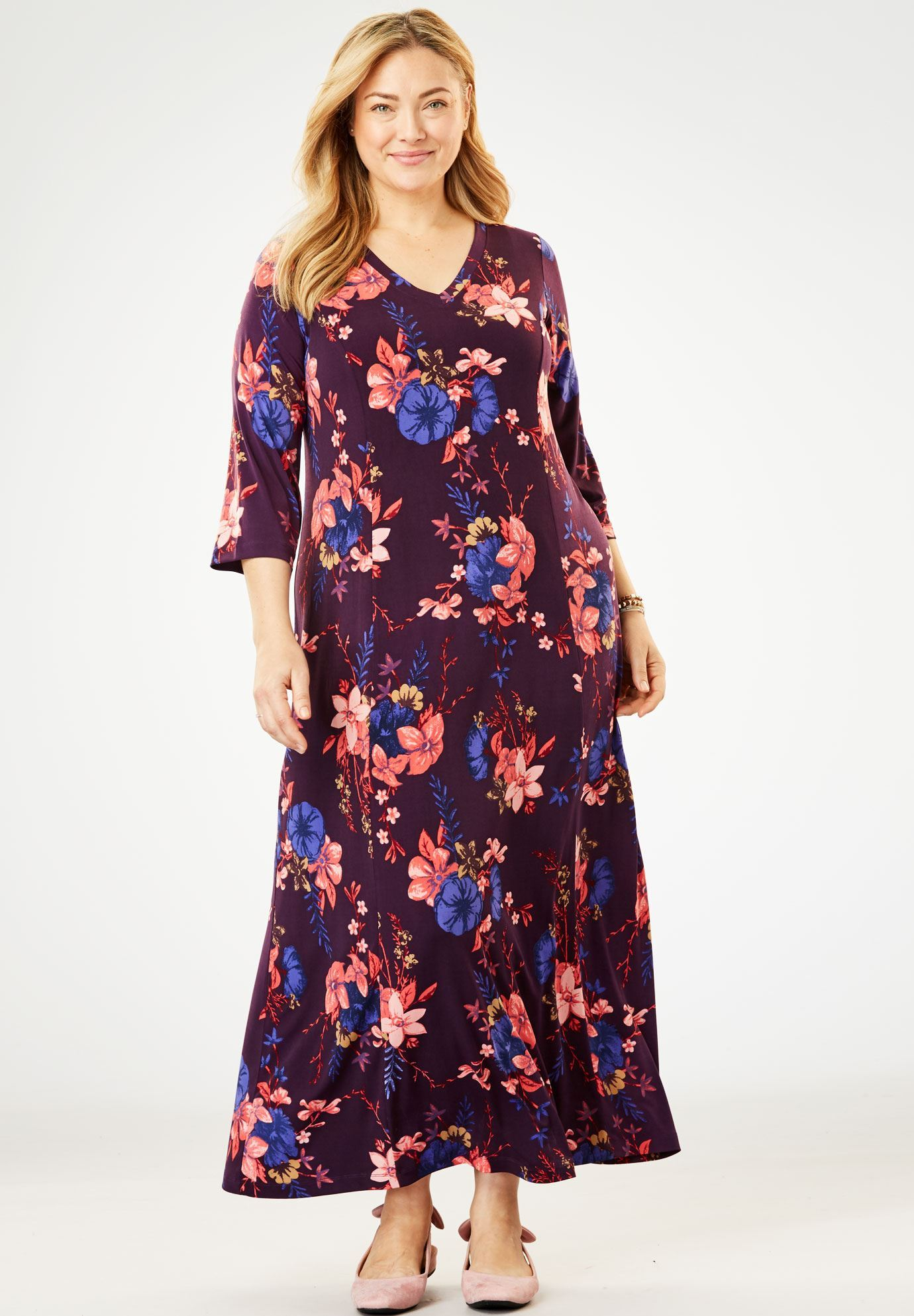 Maxi T Shirt Dress With Princess Seams Plus Size Maxi Dresses