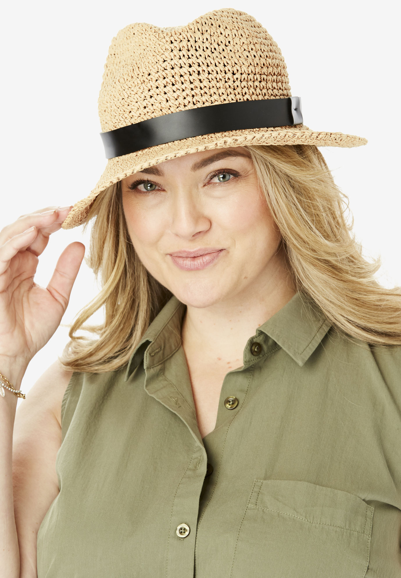 Packable Straw Fedora, NATURAL