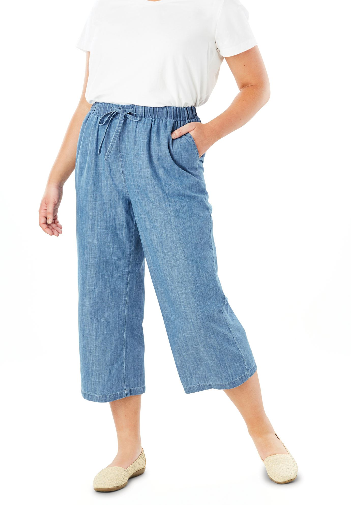 Drawstring Chambray Culotte,