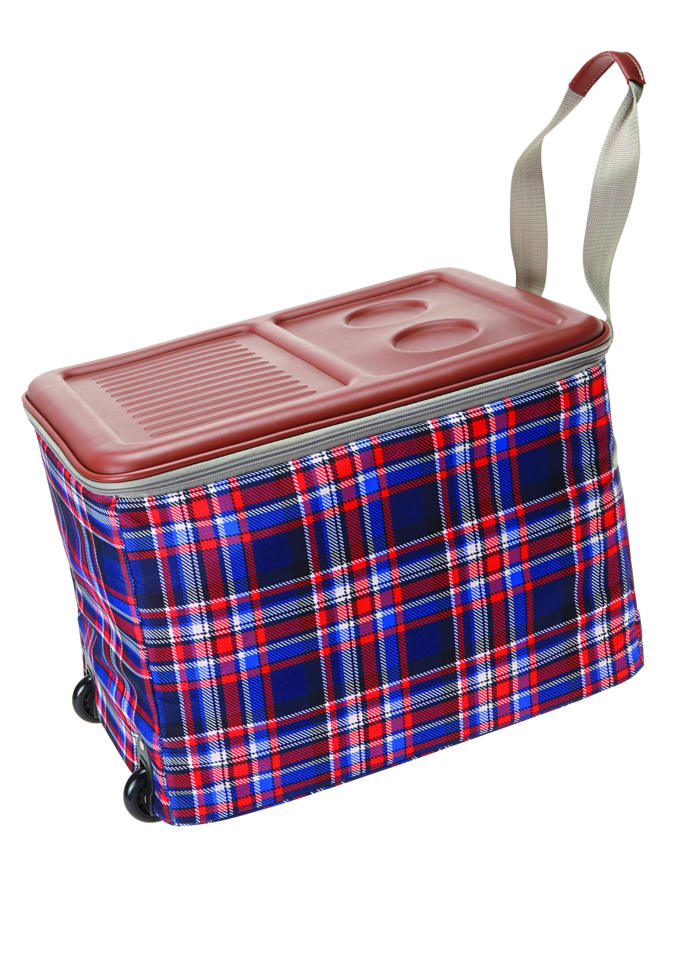 Rolling Ice Cooler, EVENING BLUE PLAID