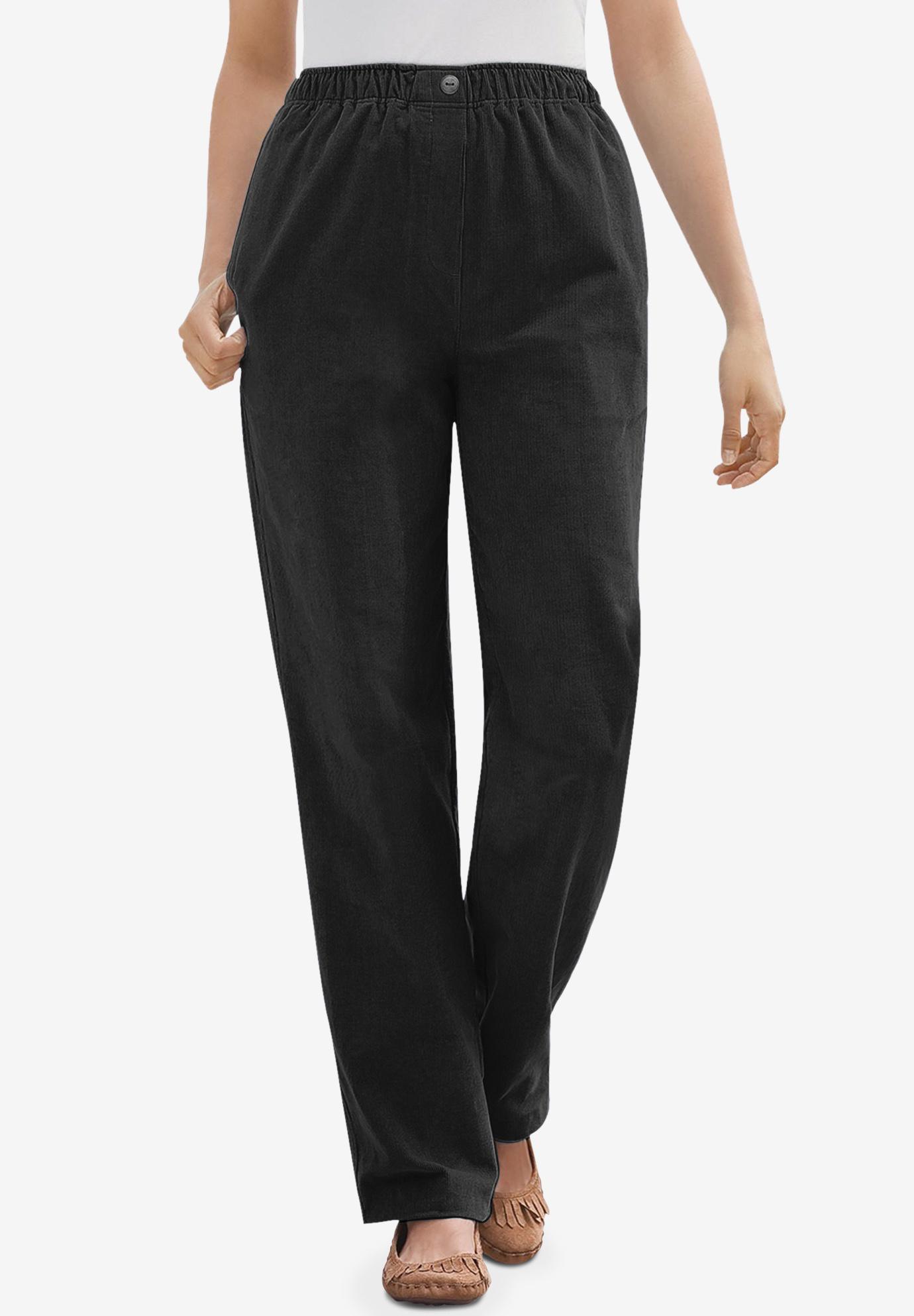 c7ac8f2b9f2 Comfort Waist Straight Leg Corduroy Pant| Plus Size Casual Pants ...