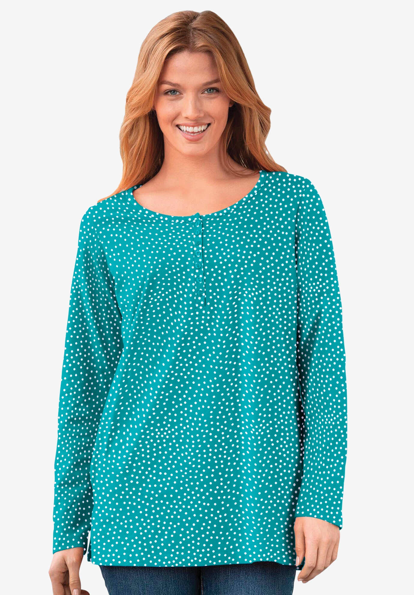 Perfect Printed Long-Sleeve Henley Tee,