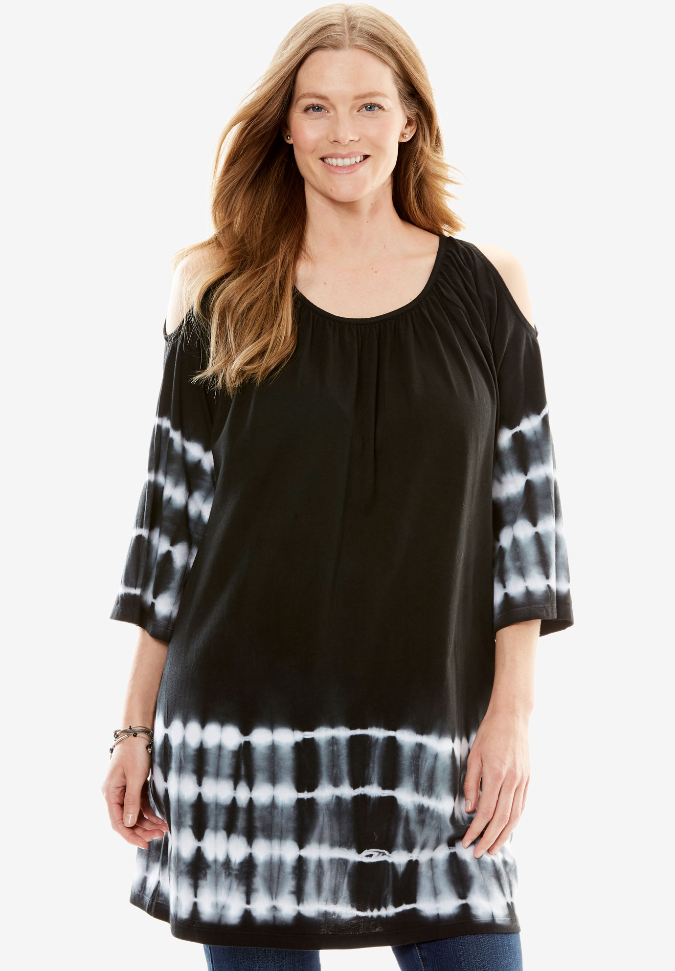 Tie-Dye Cold-Shoulder Tunic,