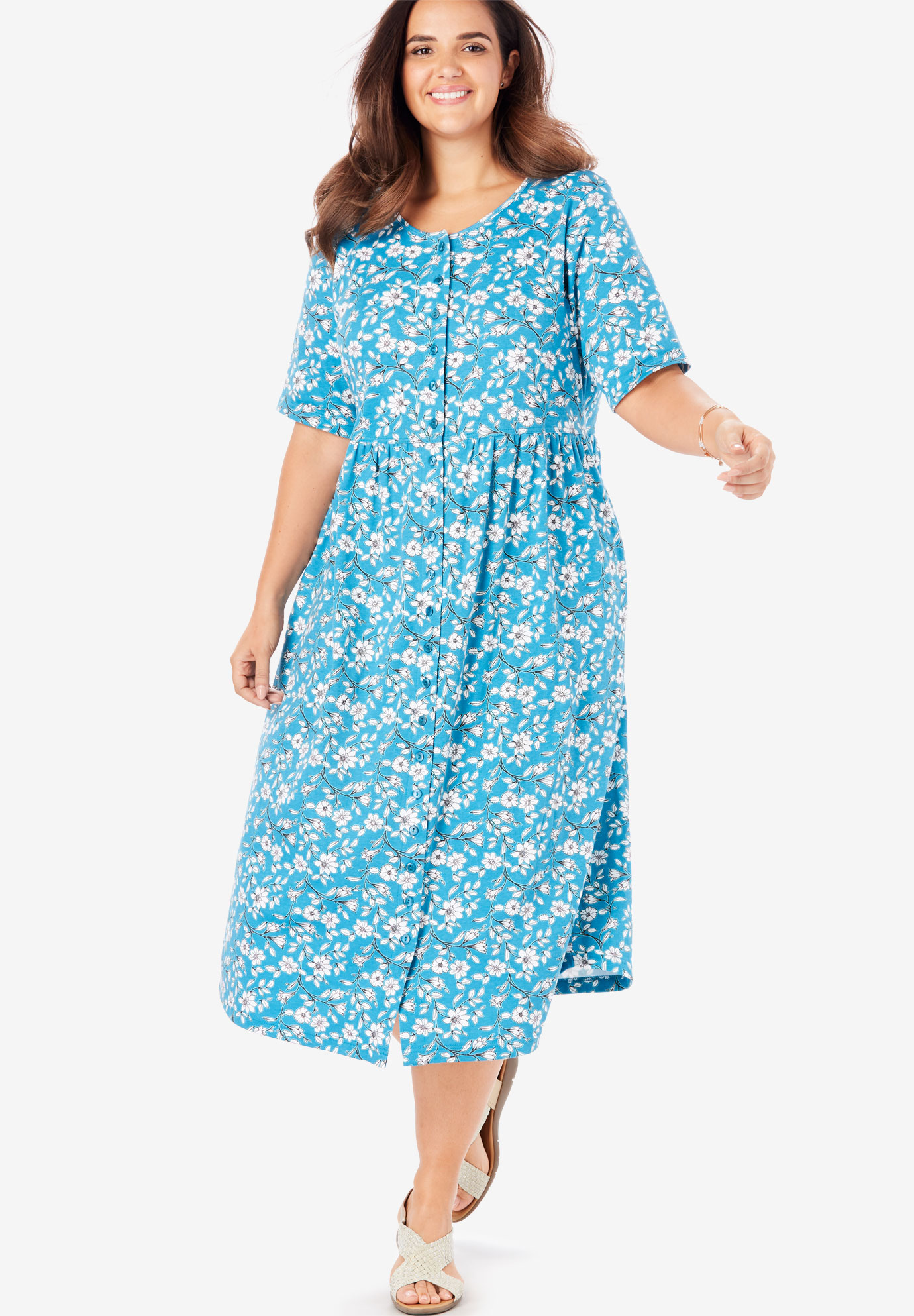 Button-Front Essential Dress| Plus Size Casual Dresses | Full Beauty