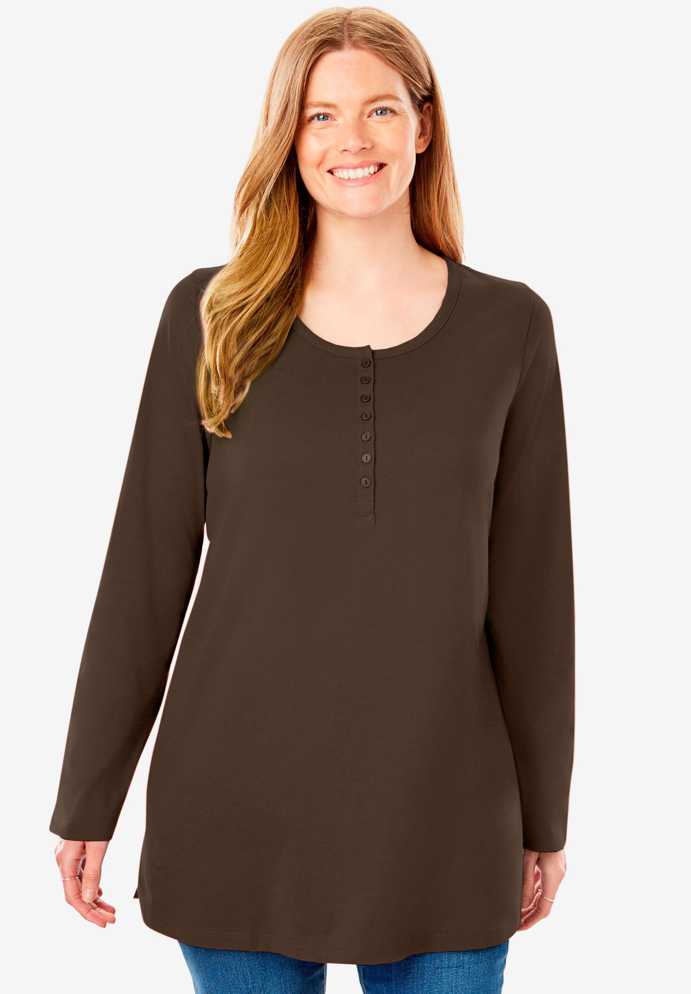Perfect Henley Long Sleeve Tee,