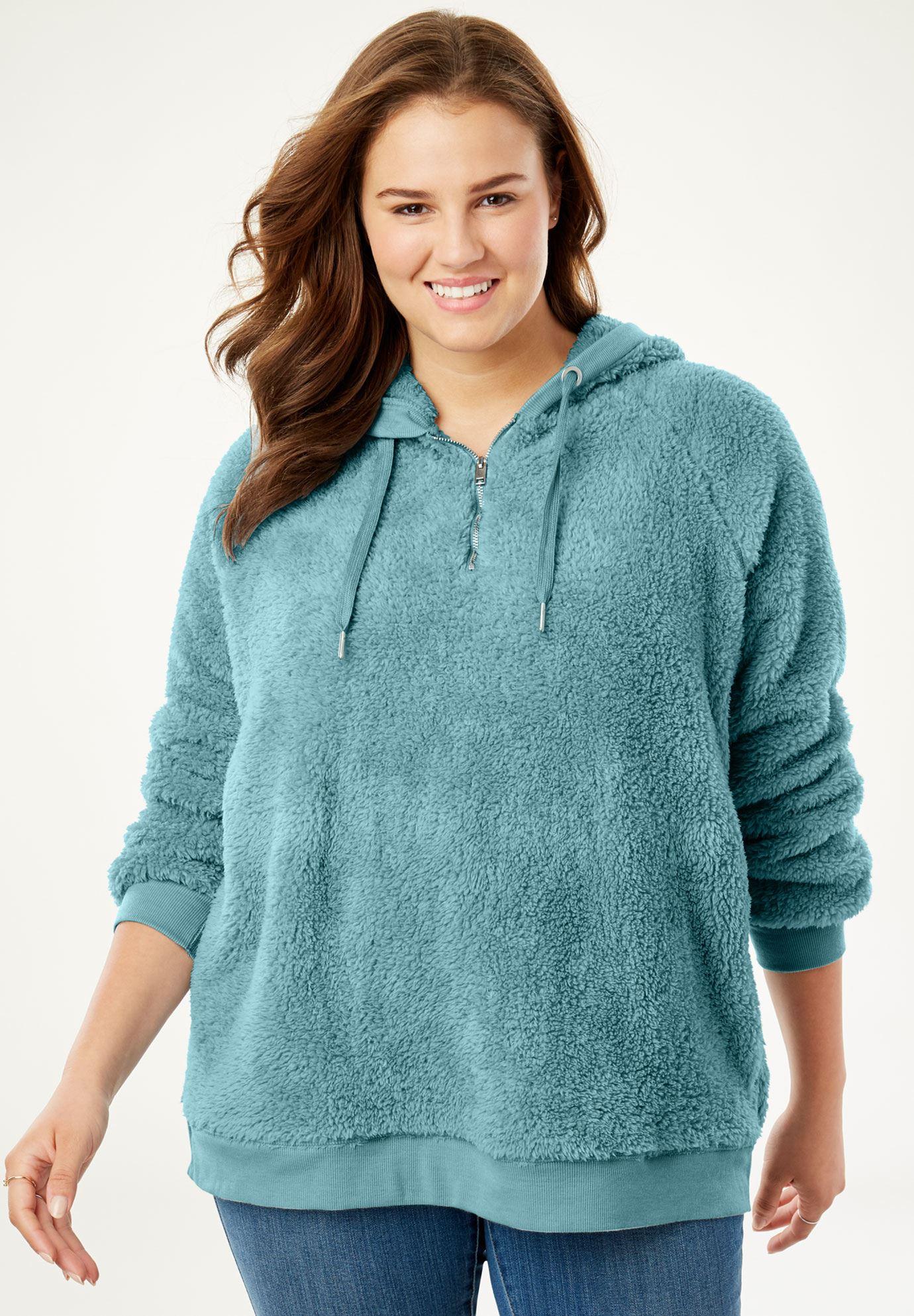 abcdb145b0258 Quarter-Zip Sherpa Fleece Hoodie Sweatshirt| Plus Size Sweatshirts ...