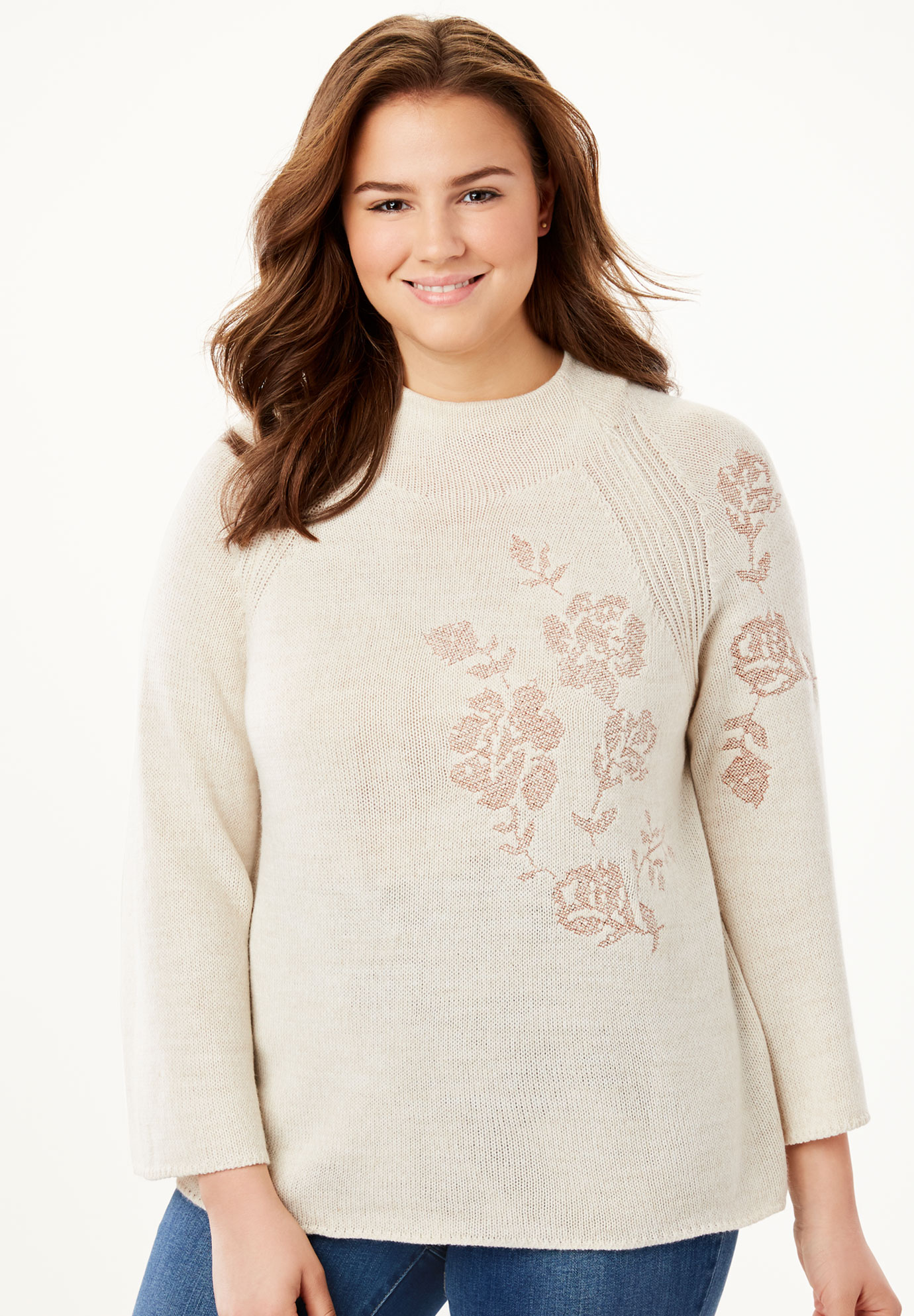 Metallic Flower Embroidered Sweater,