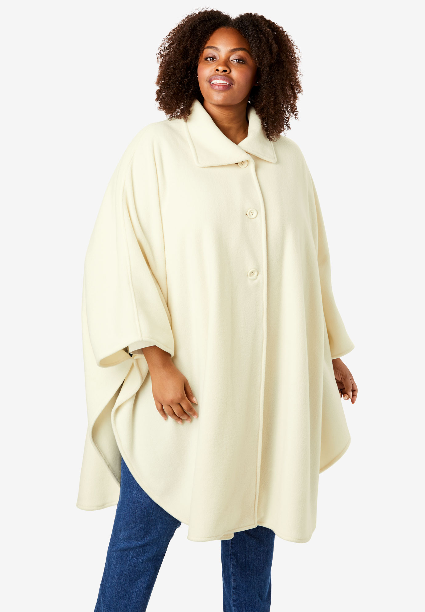 Button-Front Fleece Cape,
