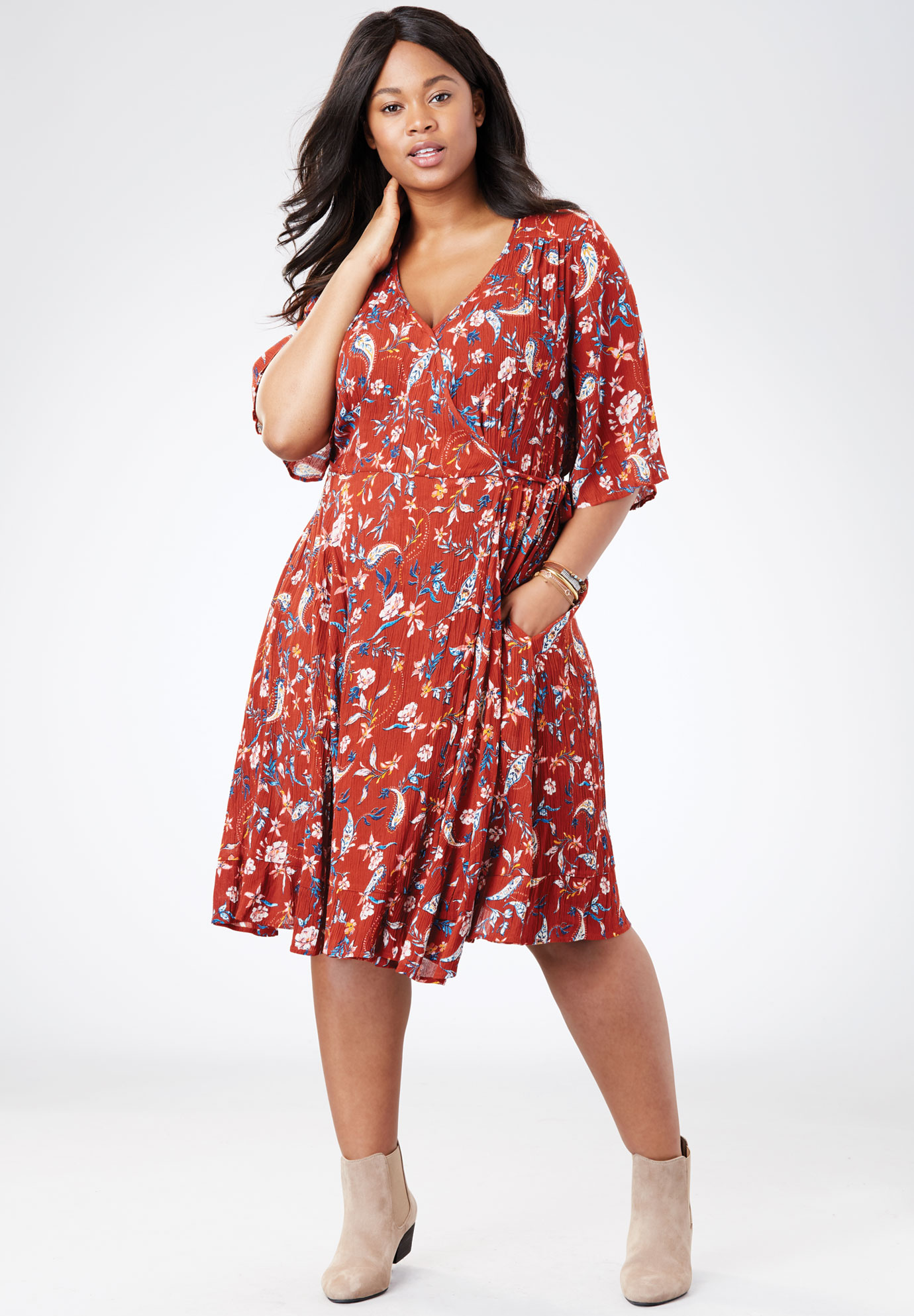 Flared Sleeve Crinkle Wrap Dress,
